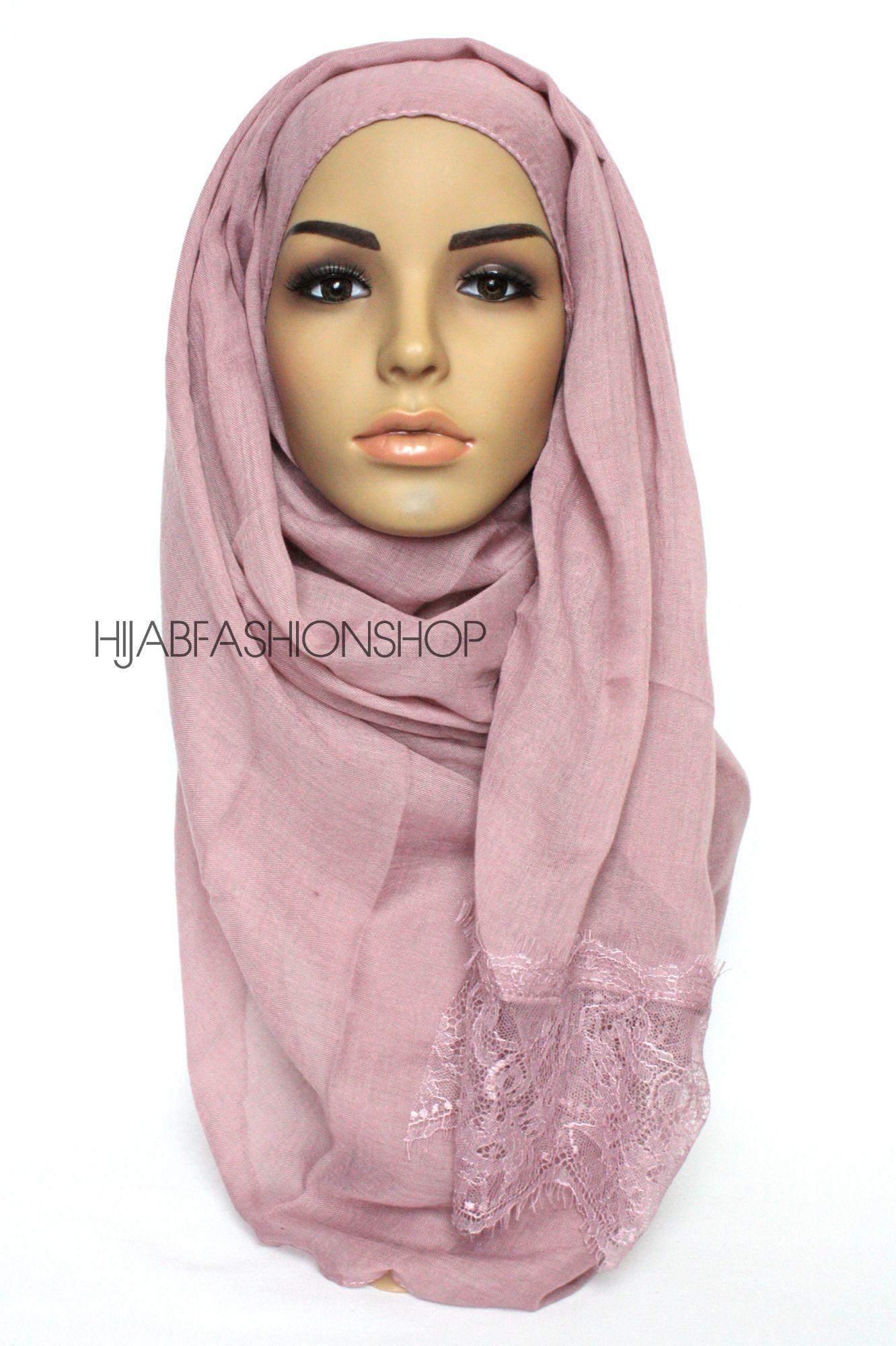 mauve plain hijab with lace edges