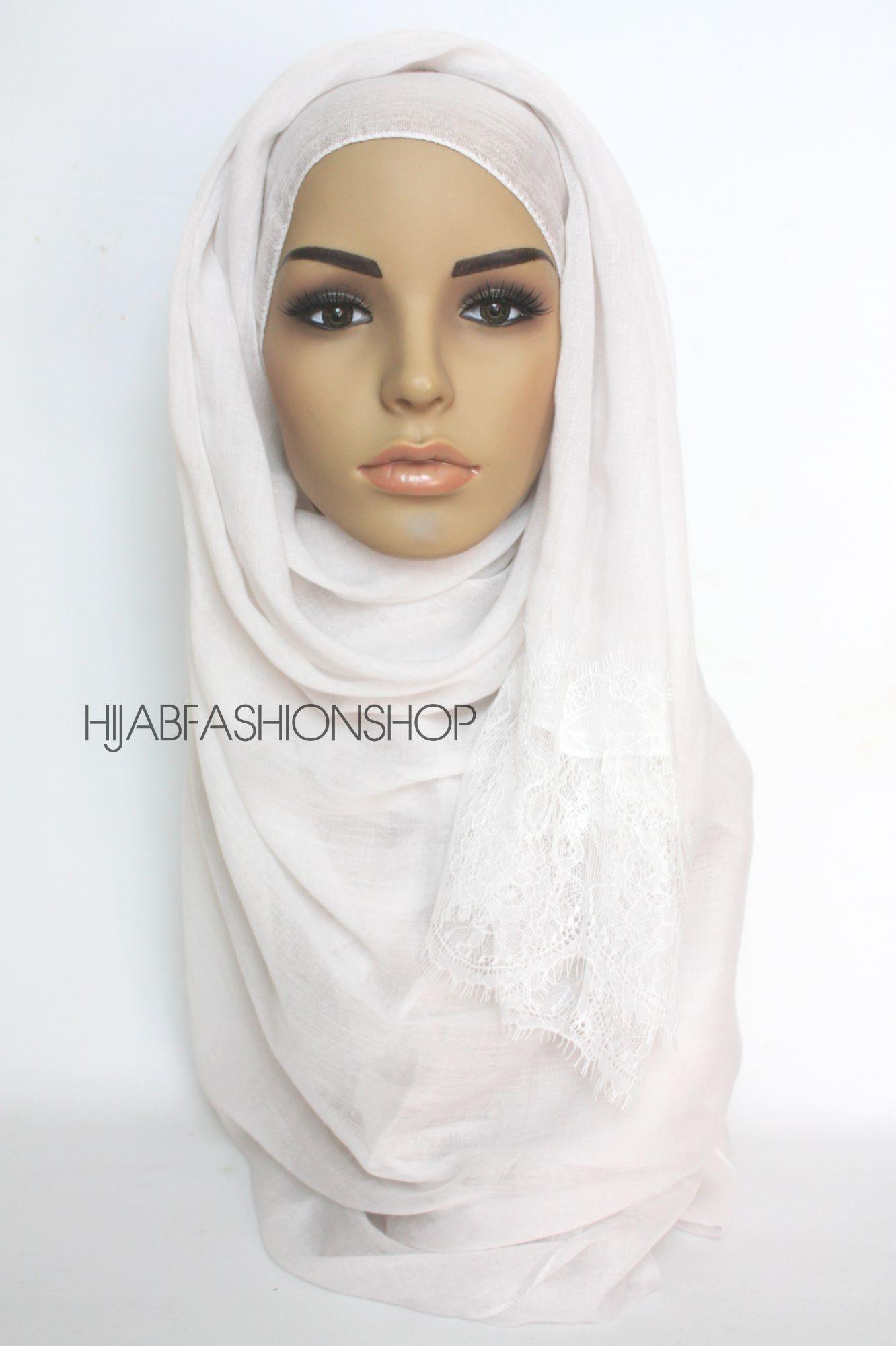 white plain hijab with lace edges