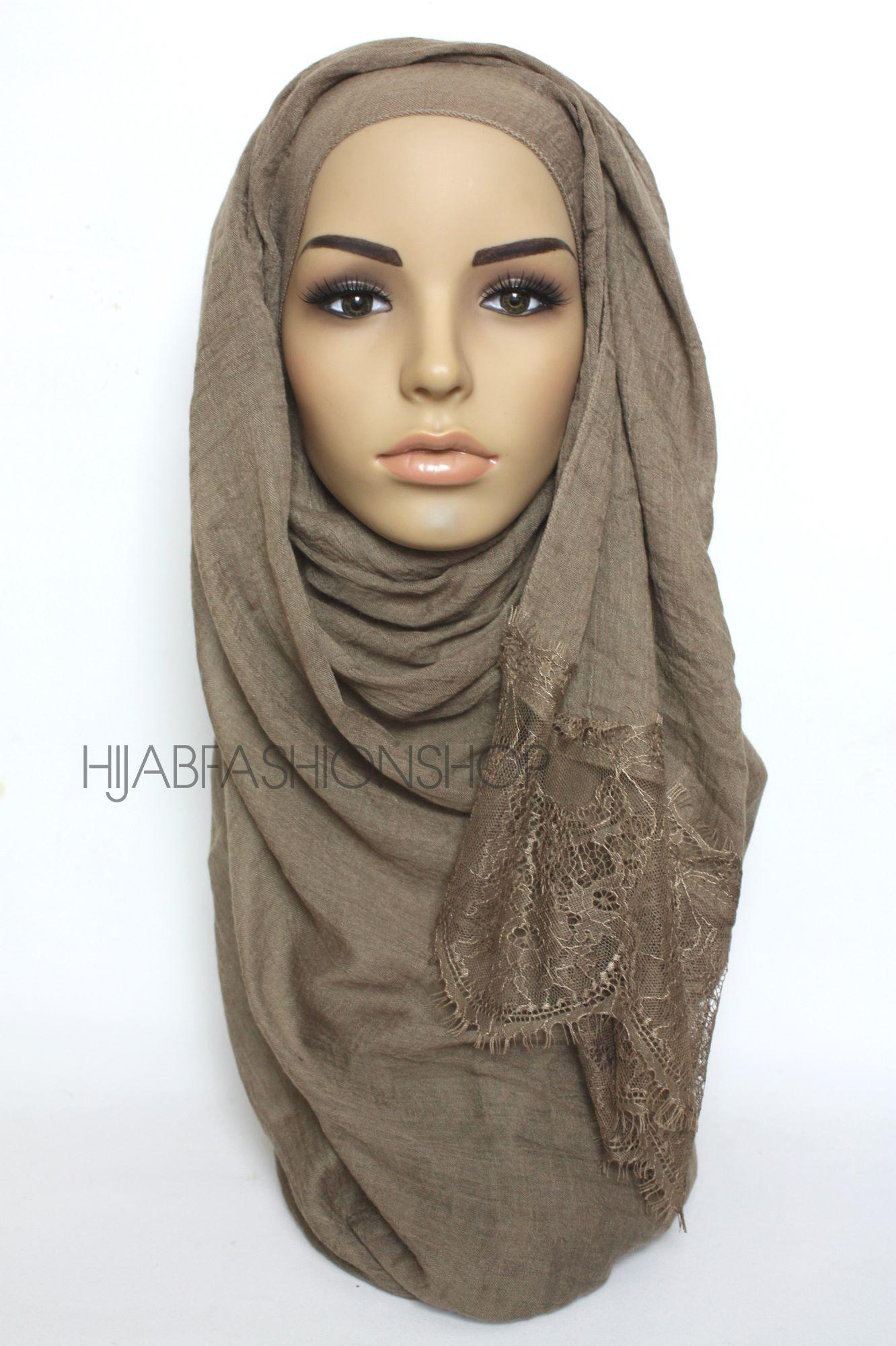 dark khaki plain hijab with lace edges