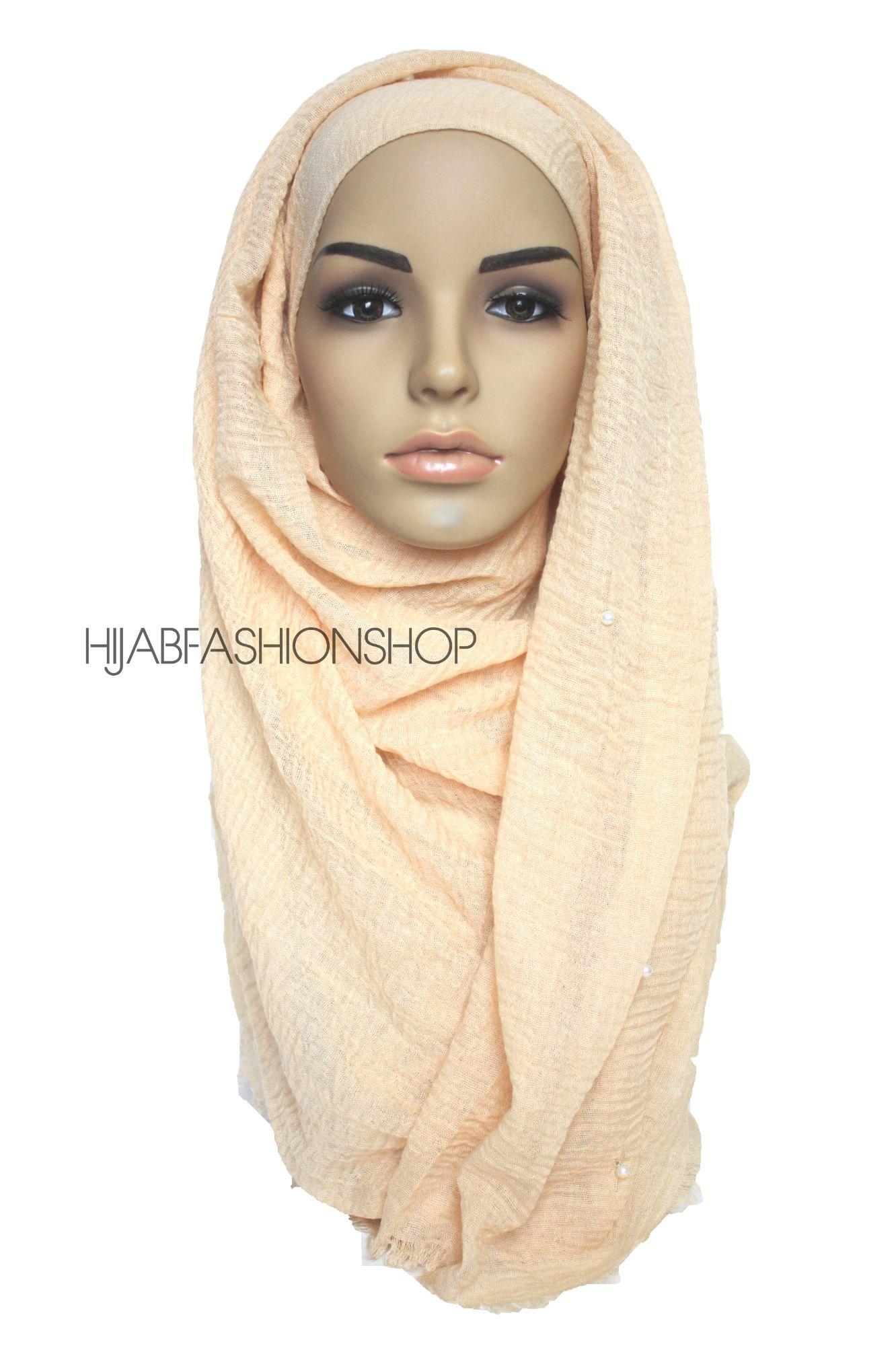 custard crimp crinkle hijab with pearls