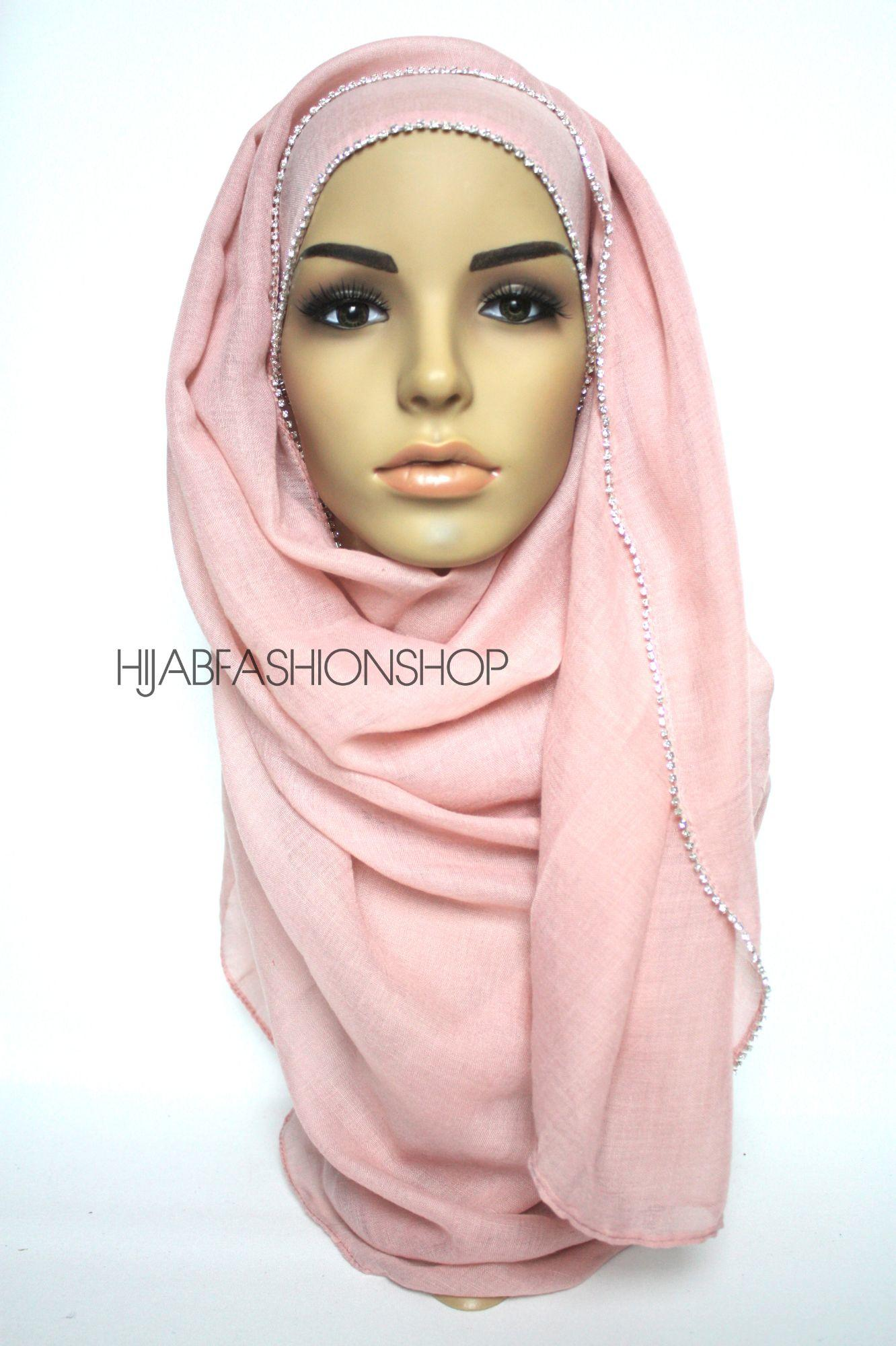baby pink plain hijab with clear crystal line on one longer edge
