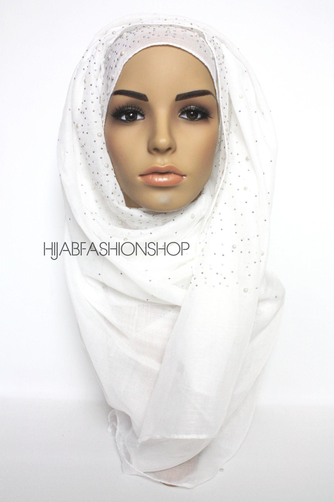 off white hijab with silver studs and pearls