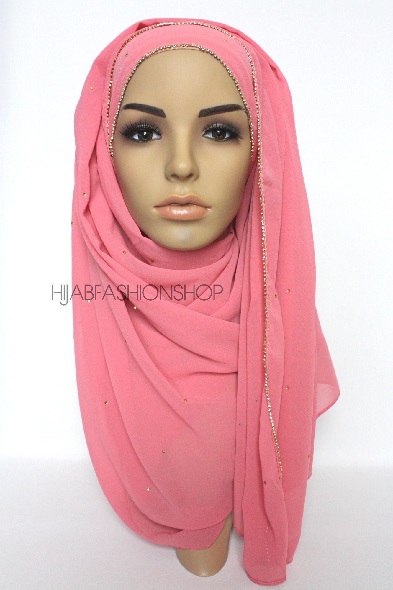 pink chiffon hijab with clear crystal line on longer edge