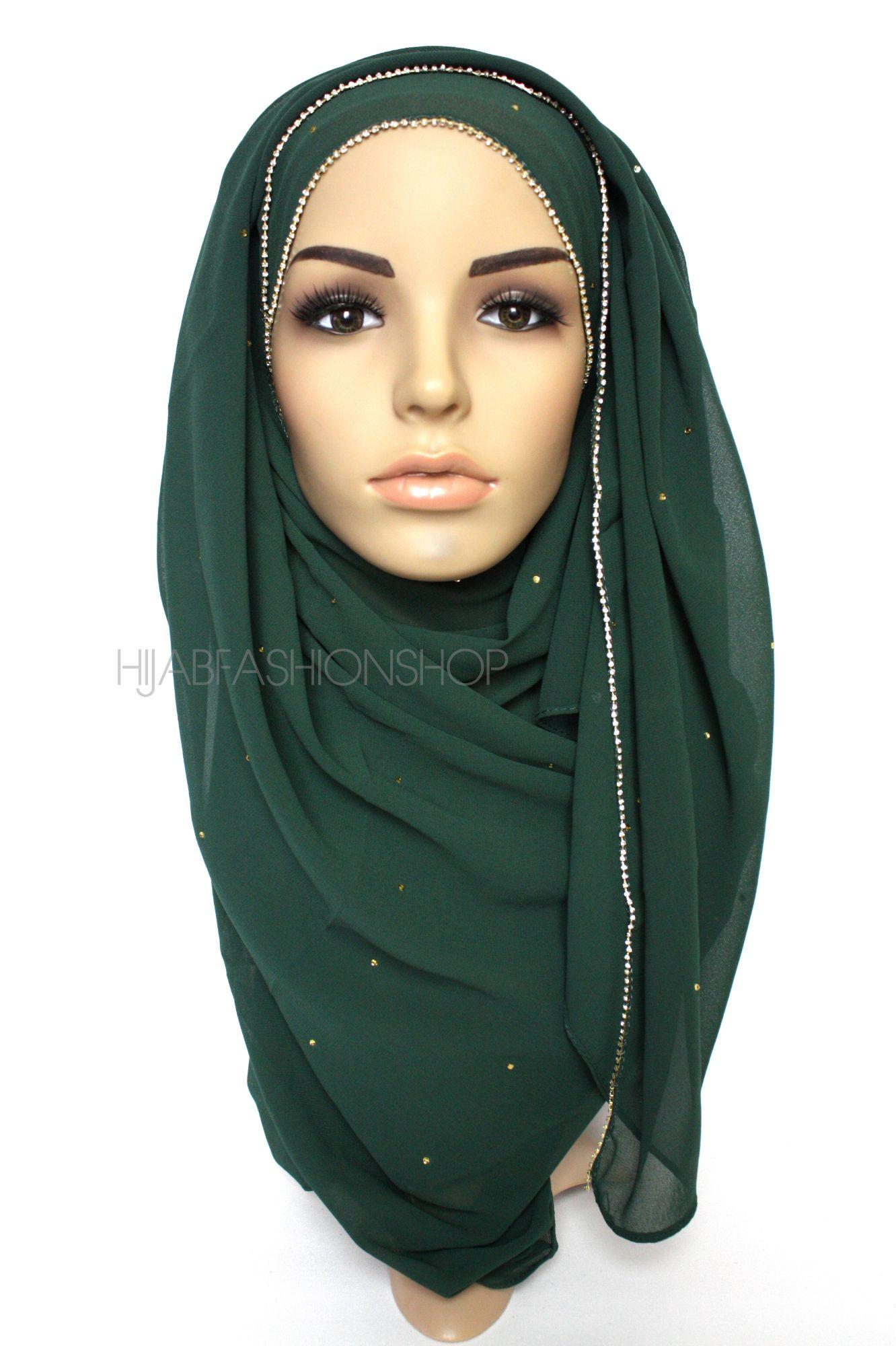 dark green chiffon hijab with clear crystal line on longer edge