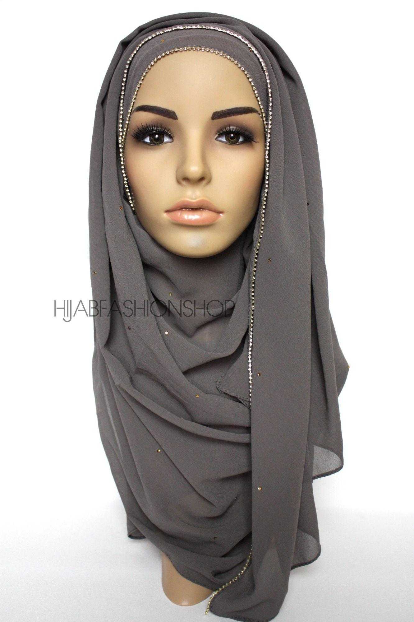 dusky grey chiffon hijab with clear crystal line on longer edge