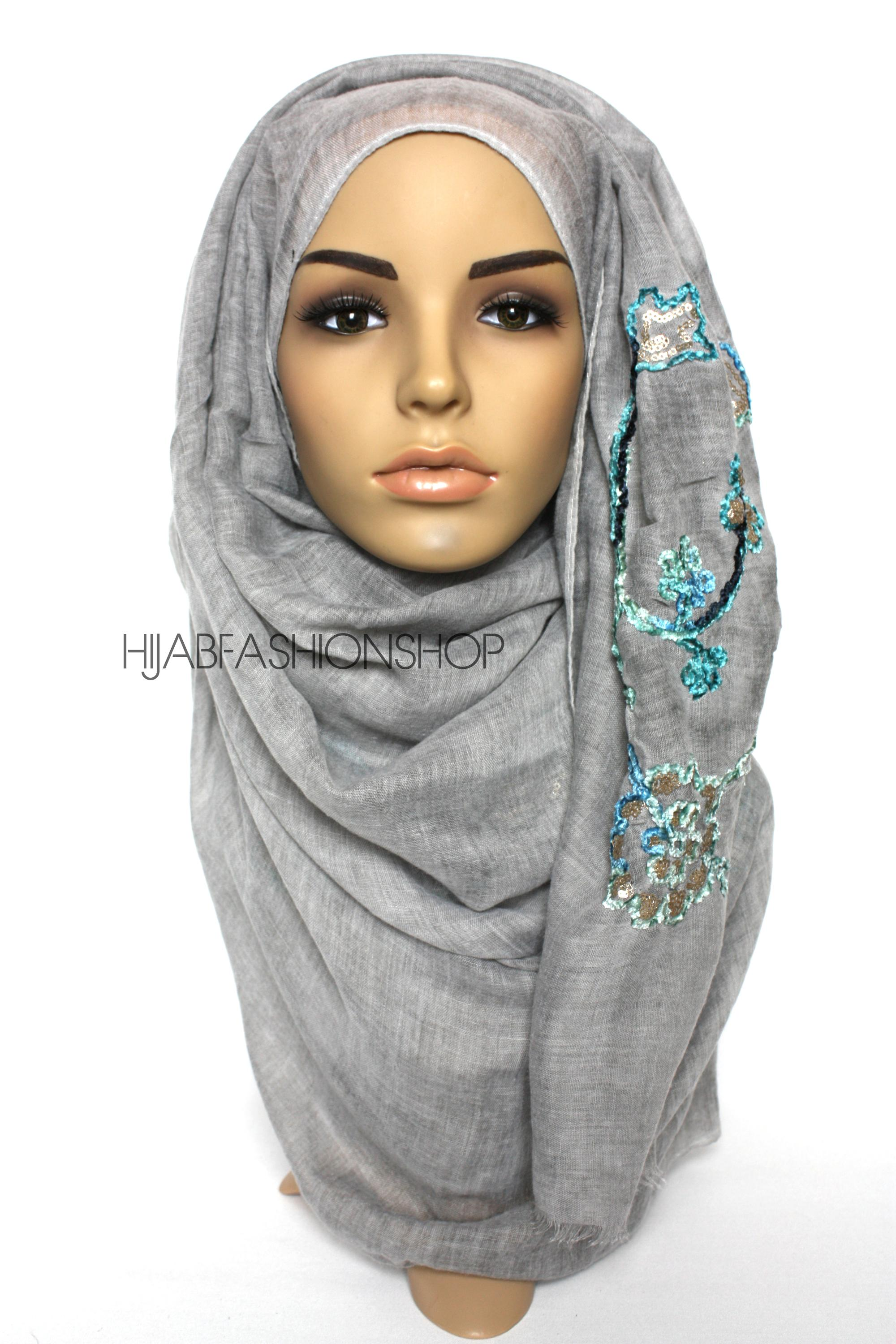 grey linen look hijab with floral velvet embroidery and sequins