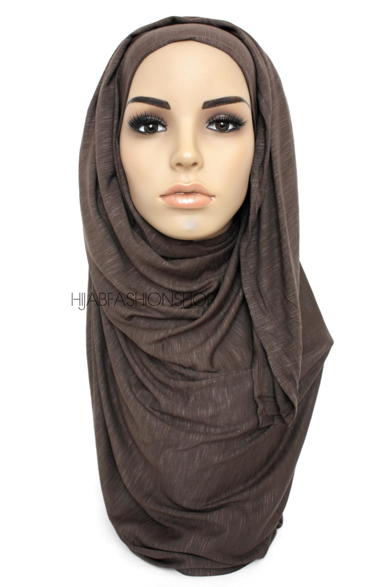 dark chocolate slub jersey hijab