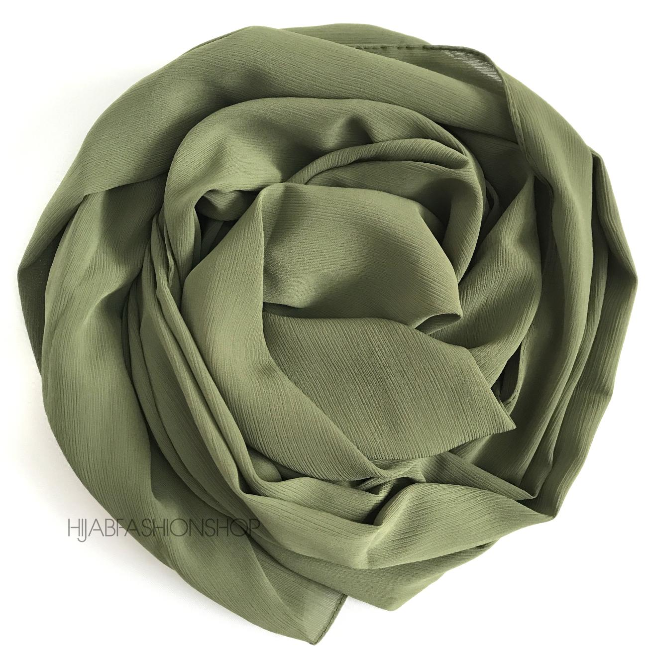 light forest green crinkle chiffon hijab