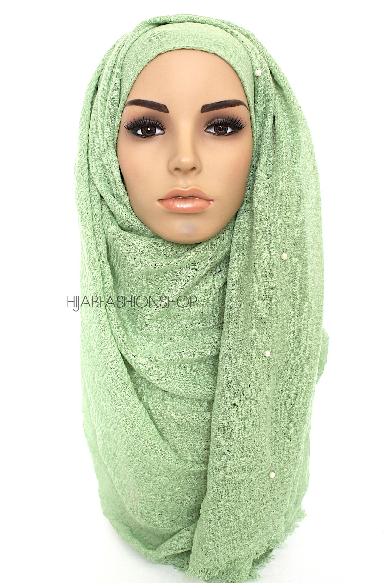 lime green crimp crinkle hijab with pearls