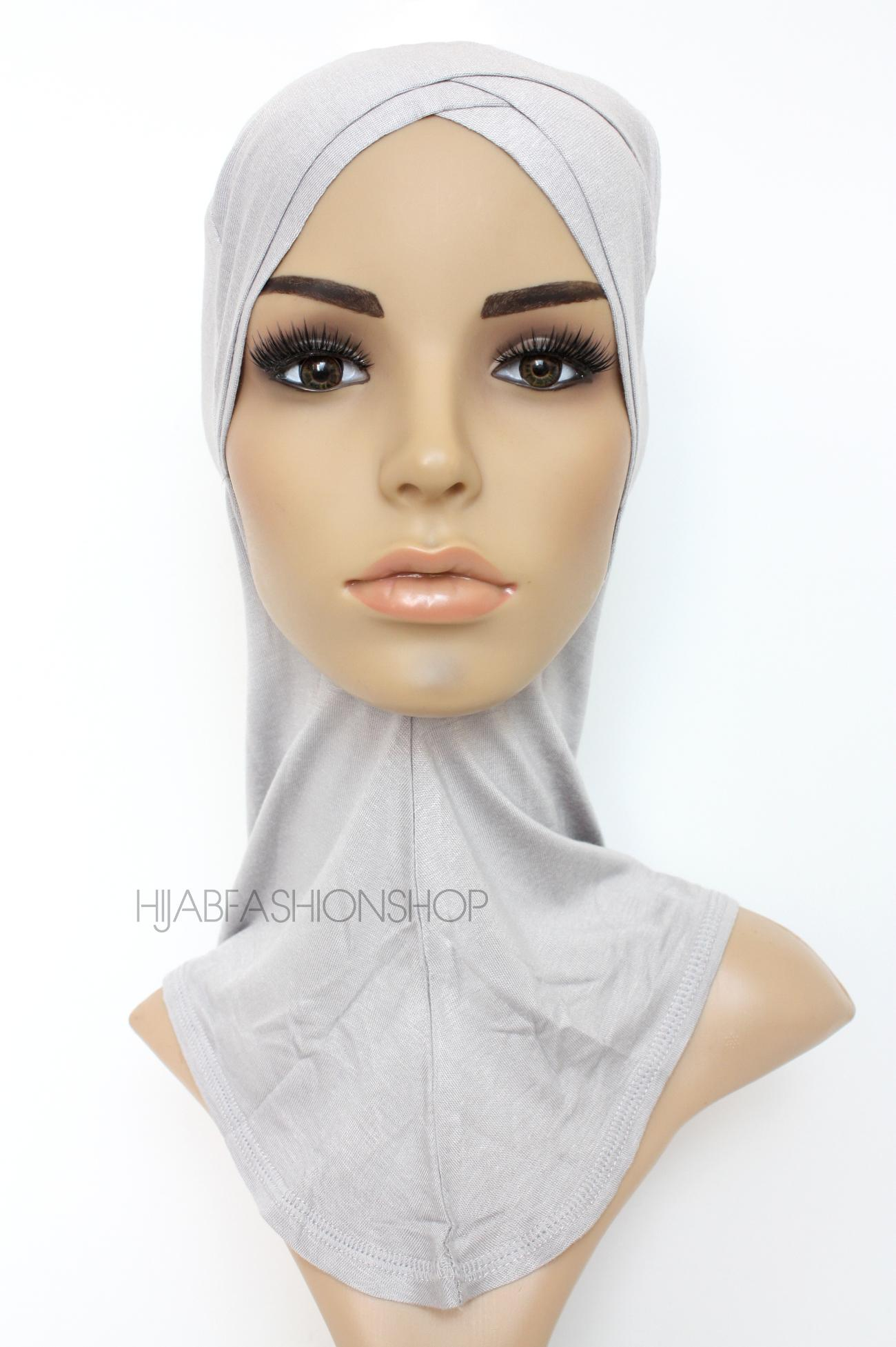grey full hijab underscarf with double criss cross peak