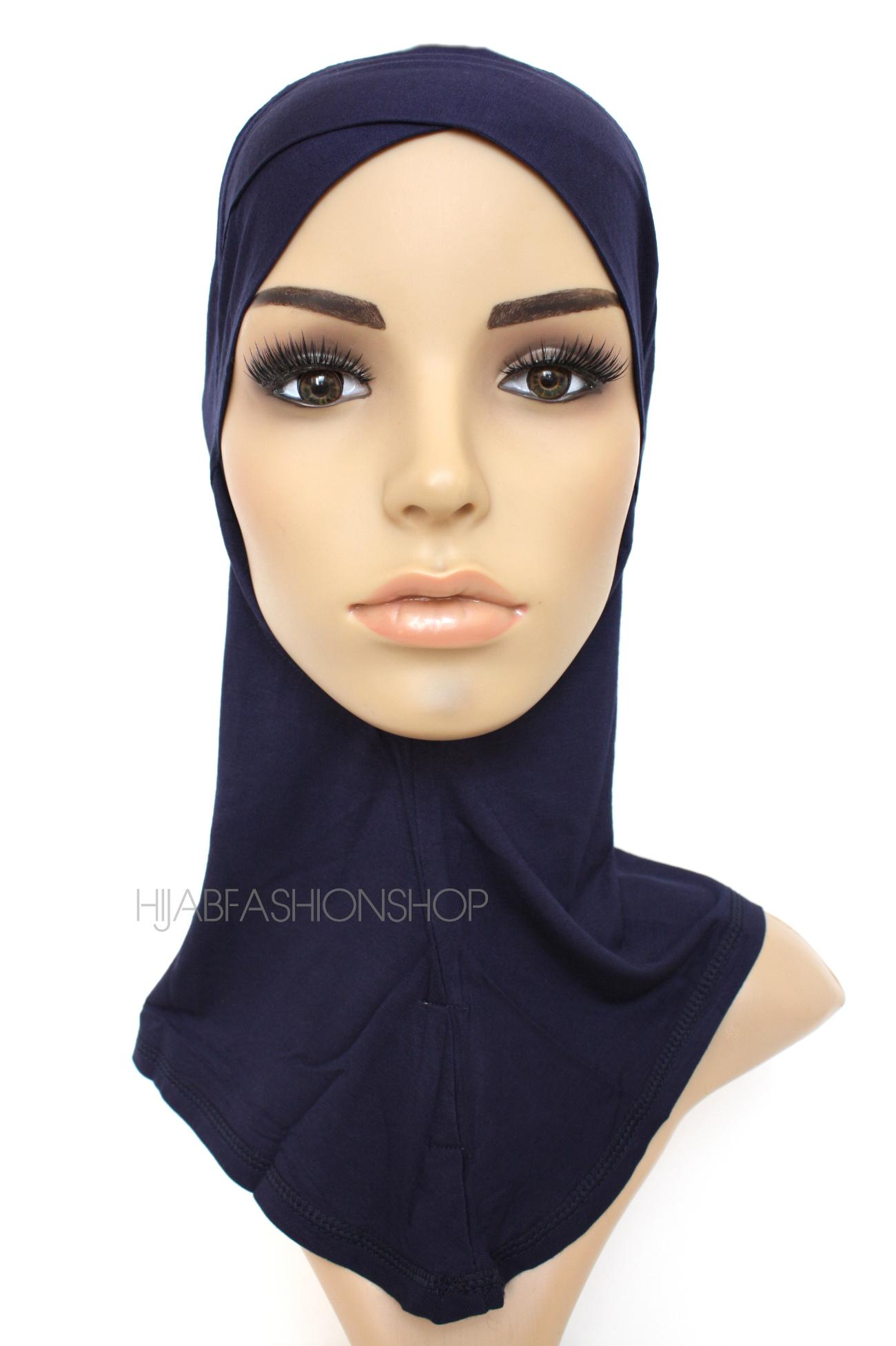 navy full hijab underscarf with criss cross peak