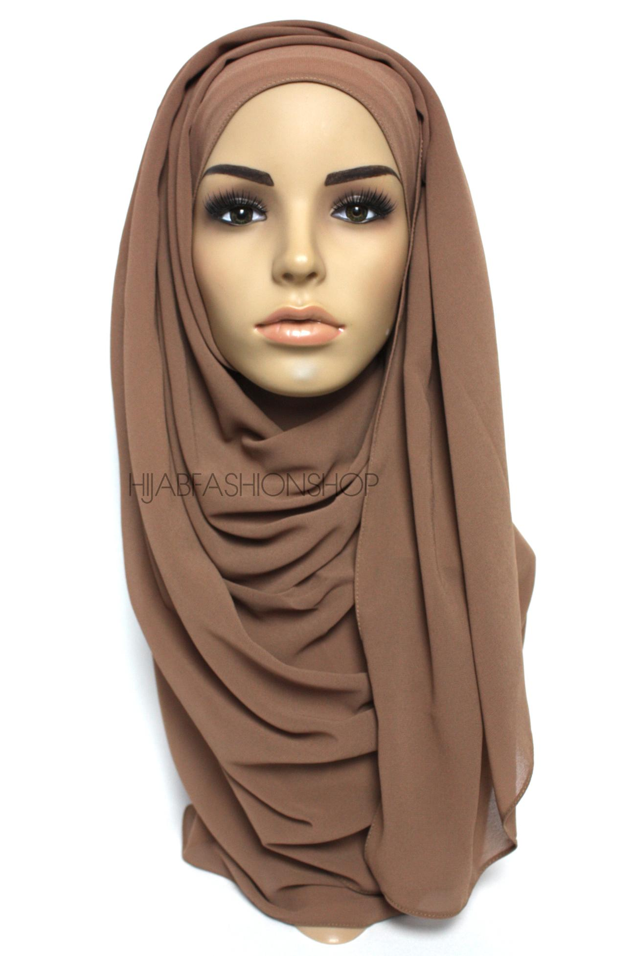 milk chocolate crepe chiffon hijab