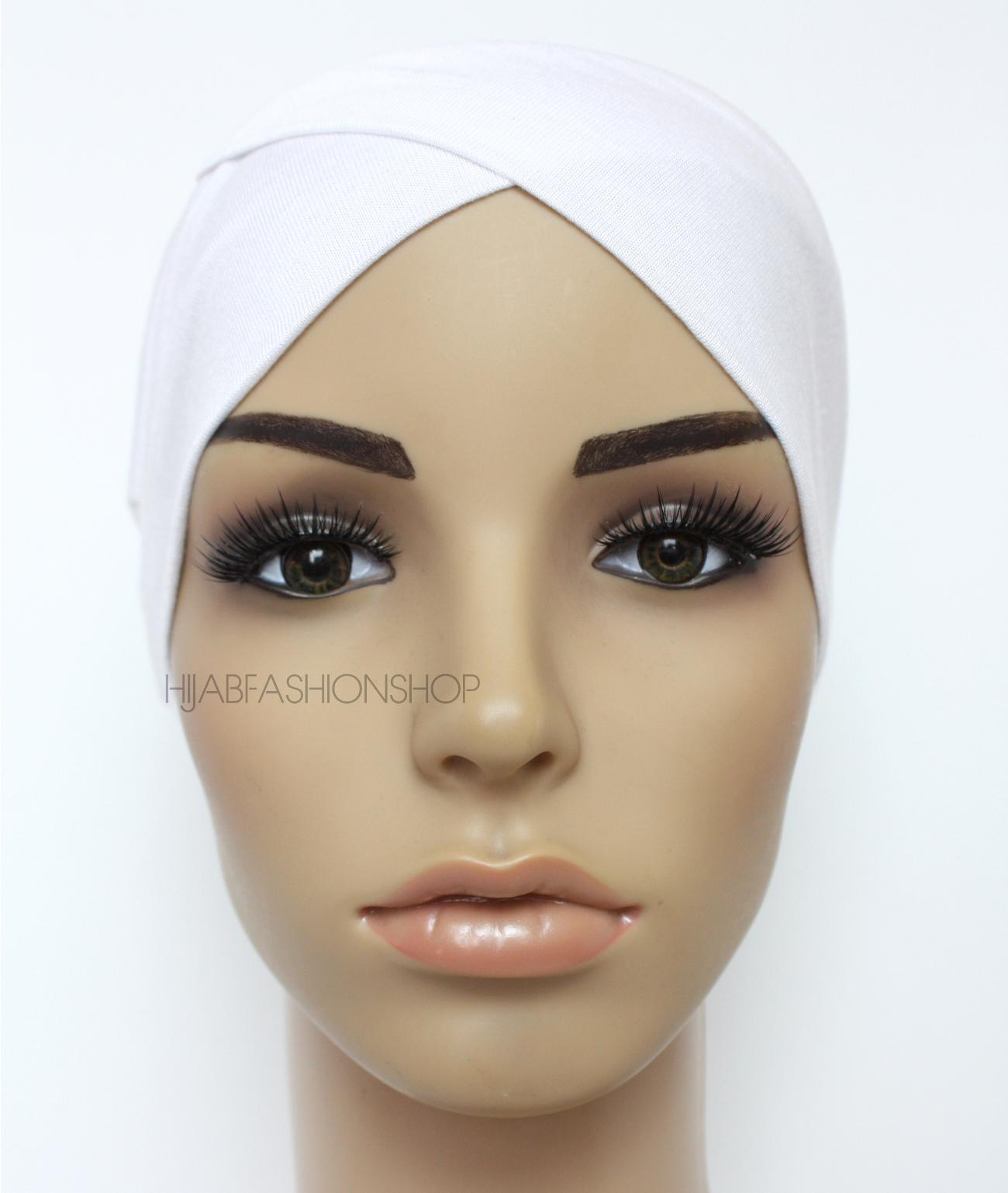 white crossover hijab cap