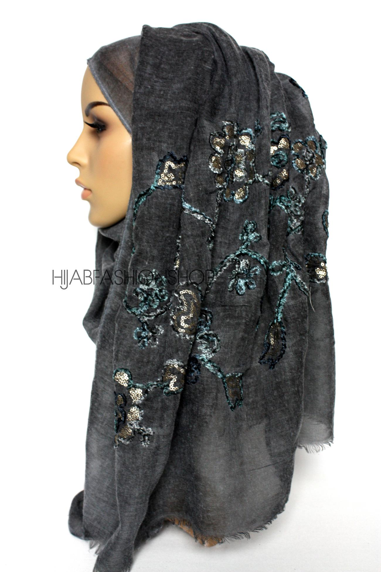 charcoal linen look hijab with floral velvet embroidery and sequins side view