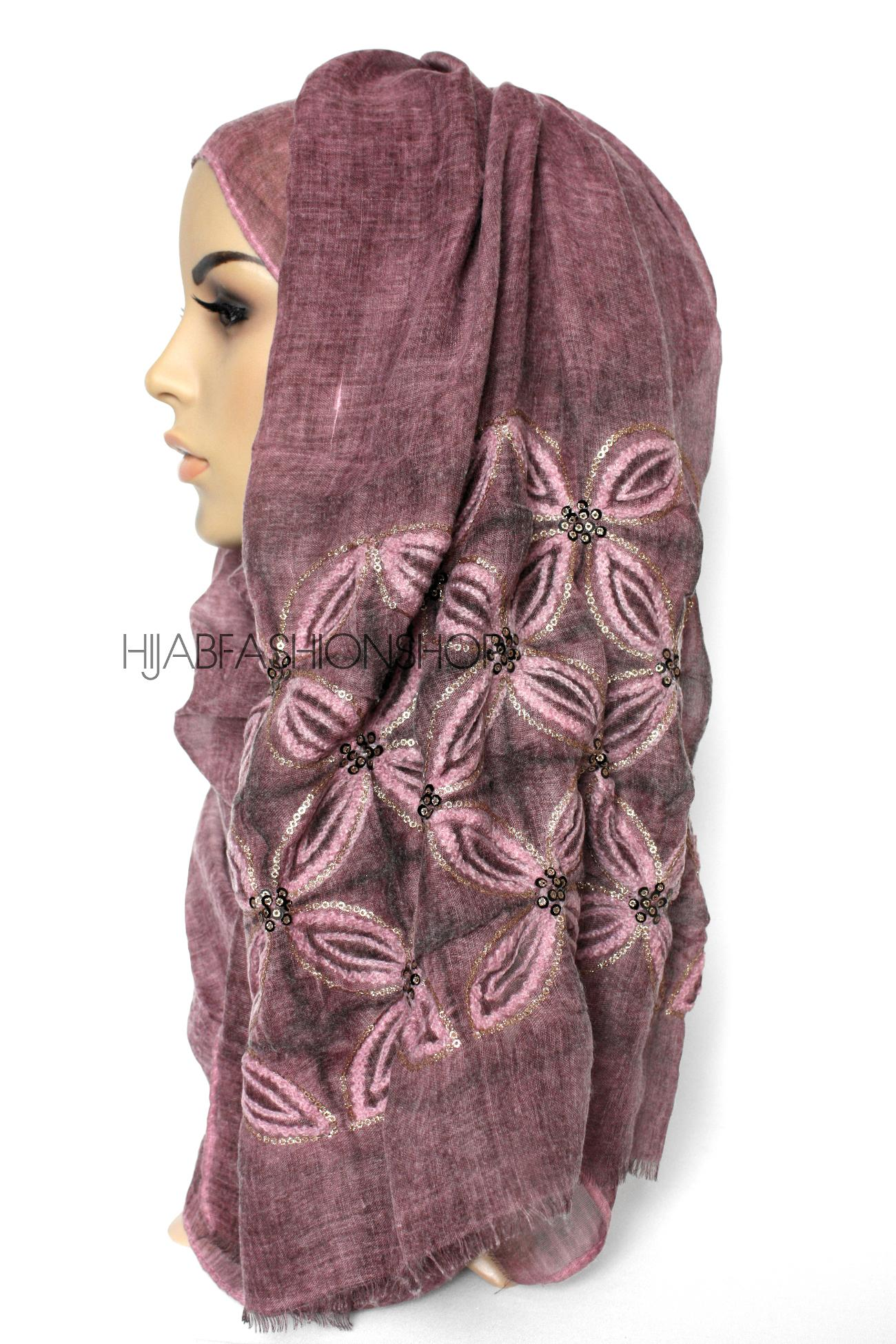 maroon linen look hijab with lilies embroidery and sequins side view