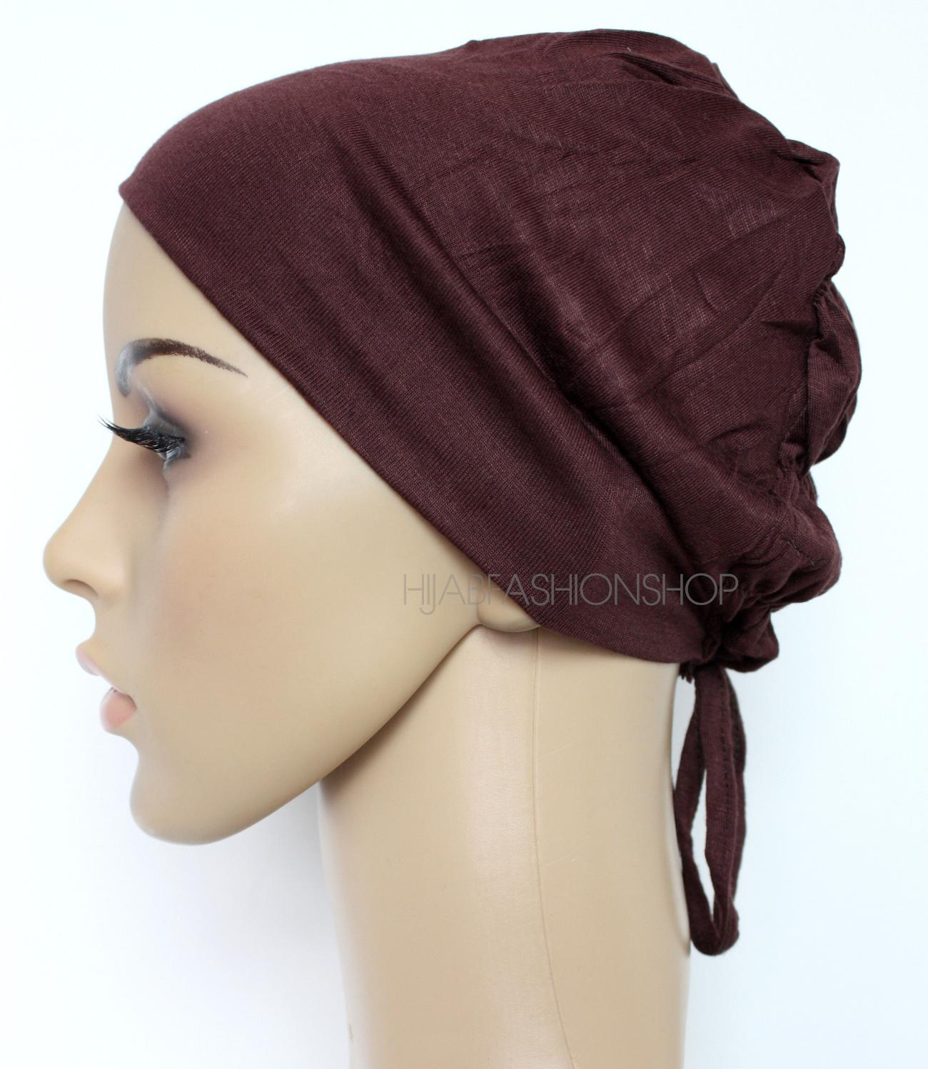 brown ruched back string bonnet