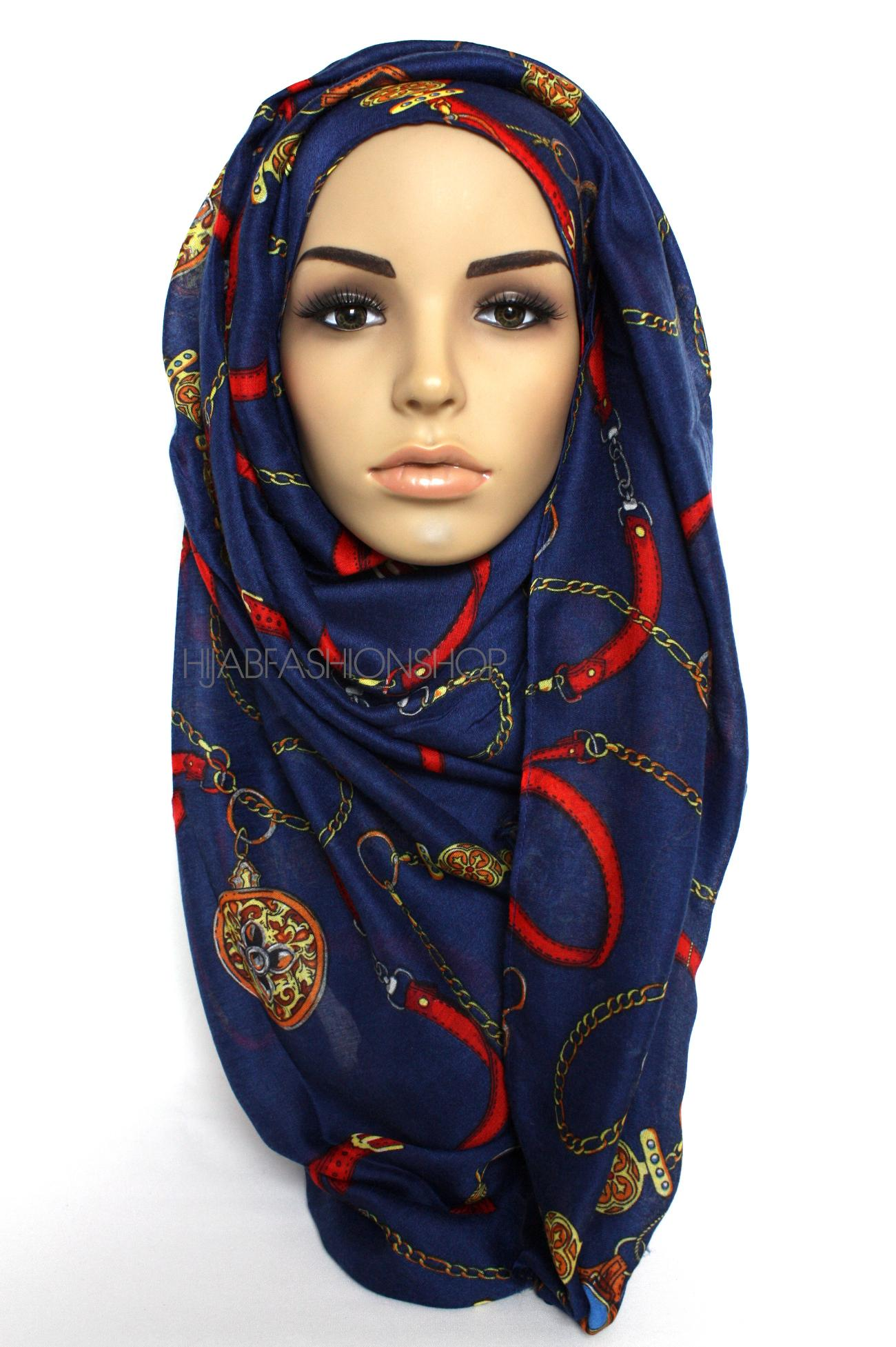 navy hijab with red belt and gold chain print