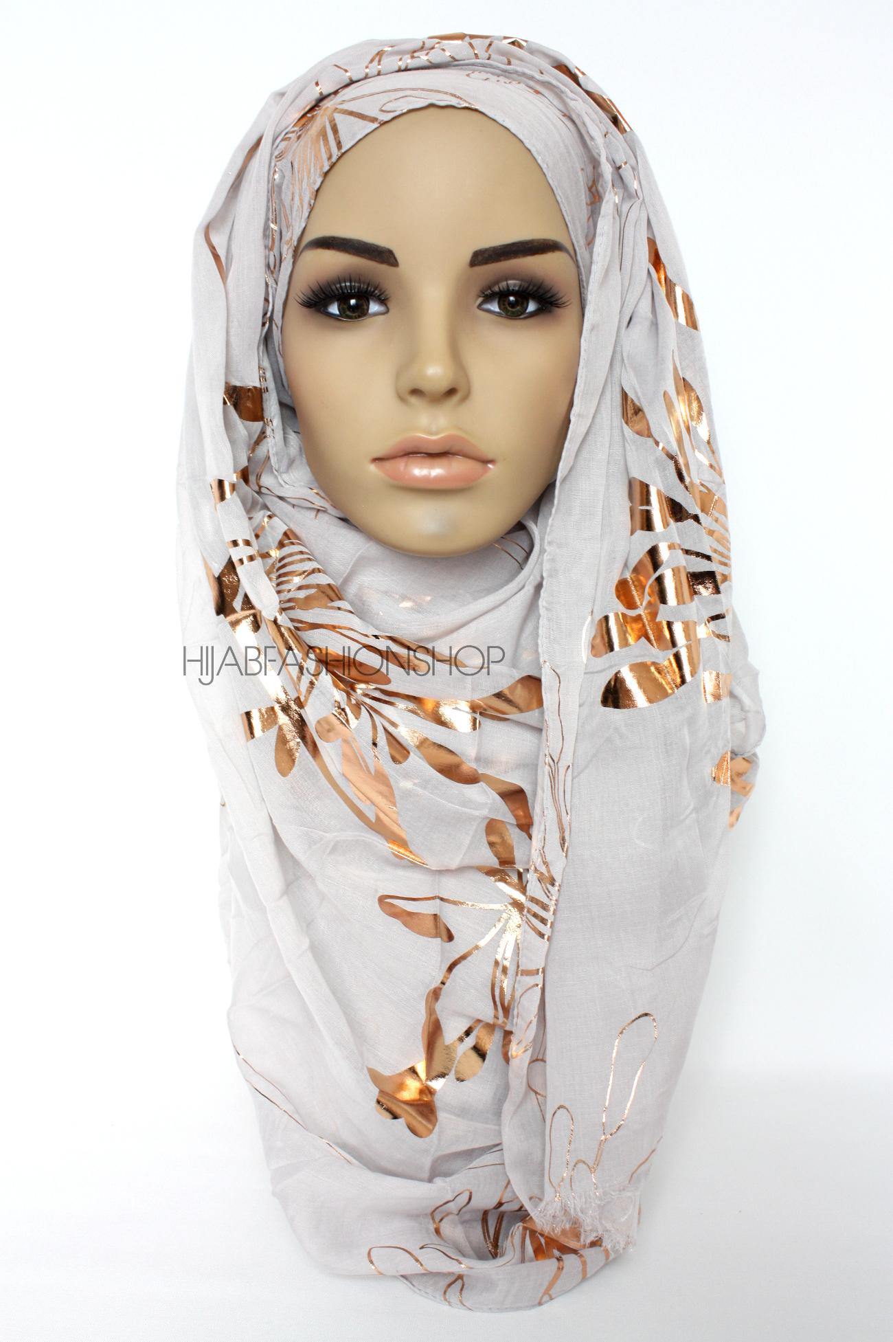 light grey iris foil print hijab