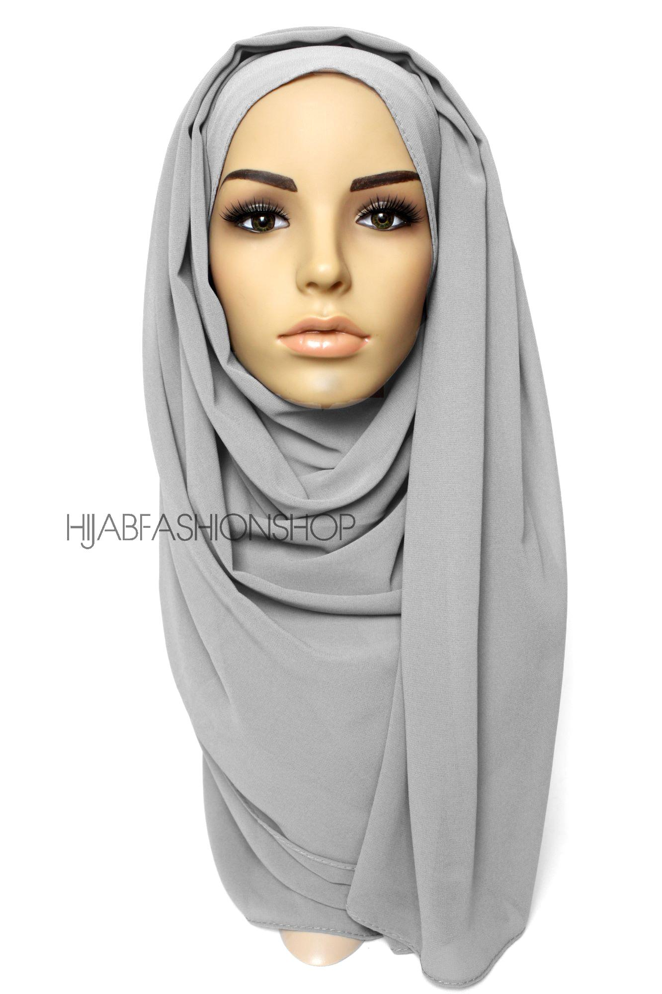 light grey crepe chiffon hijab