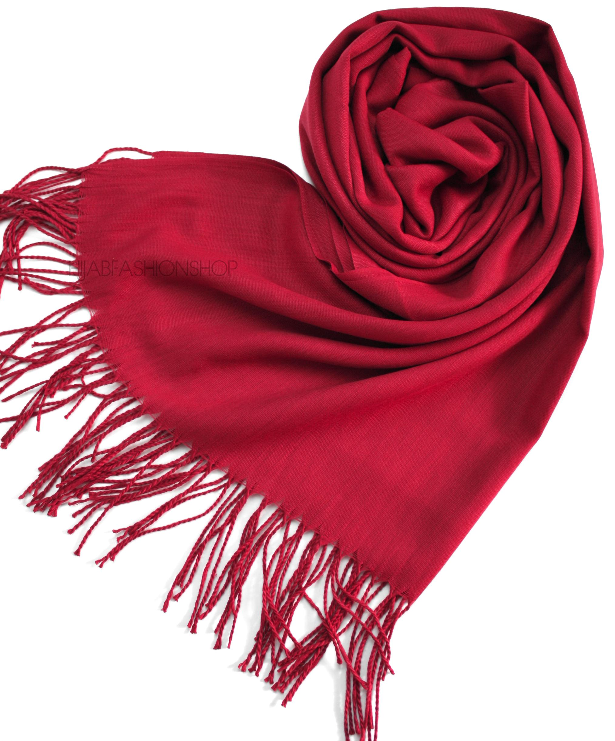 deep red pashmina hijab