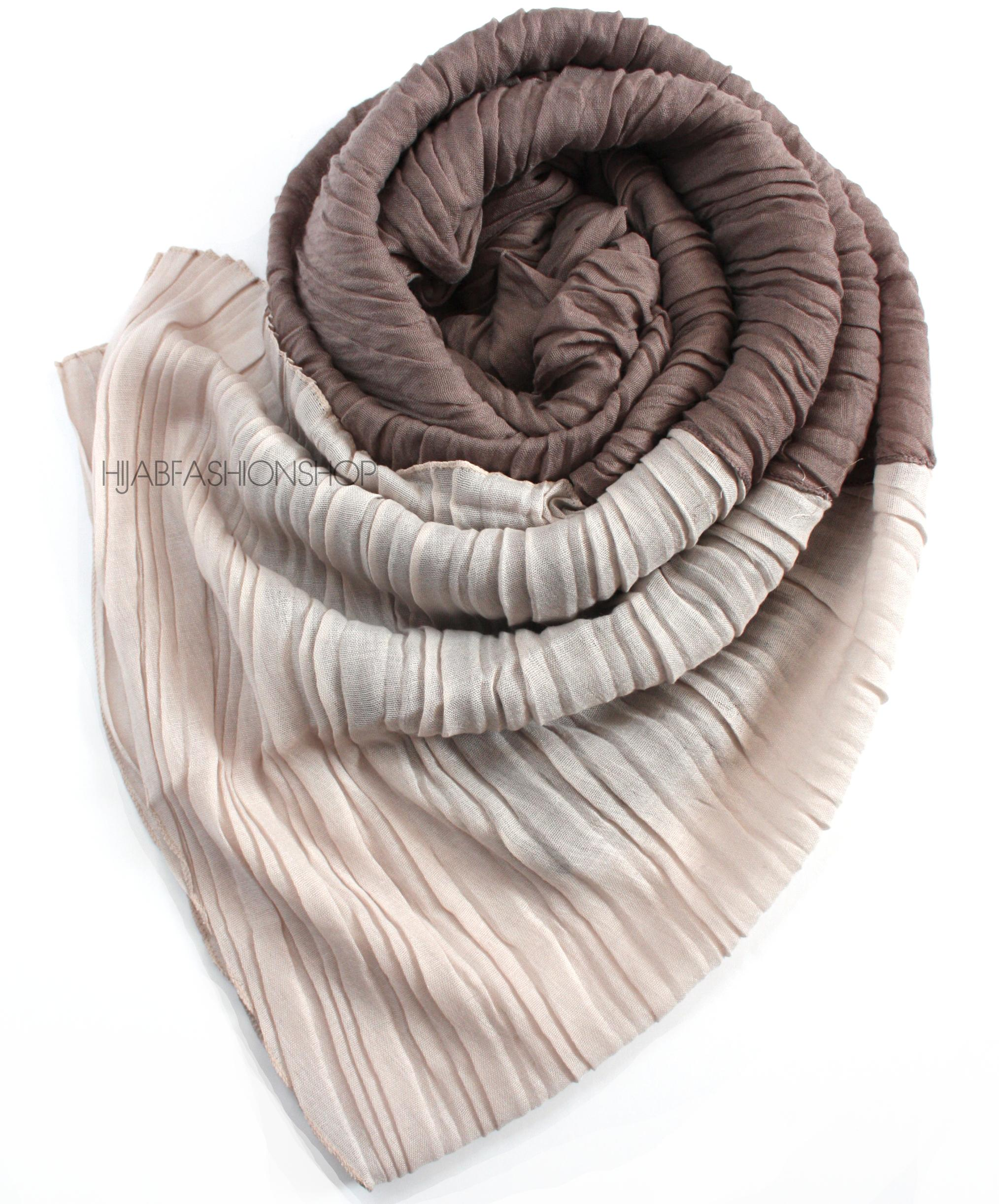 taupe two tone crinkle hijab