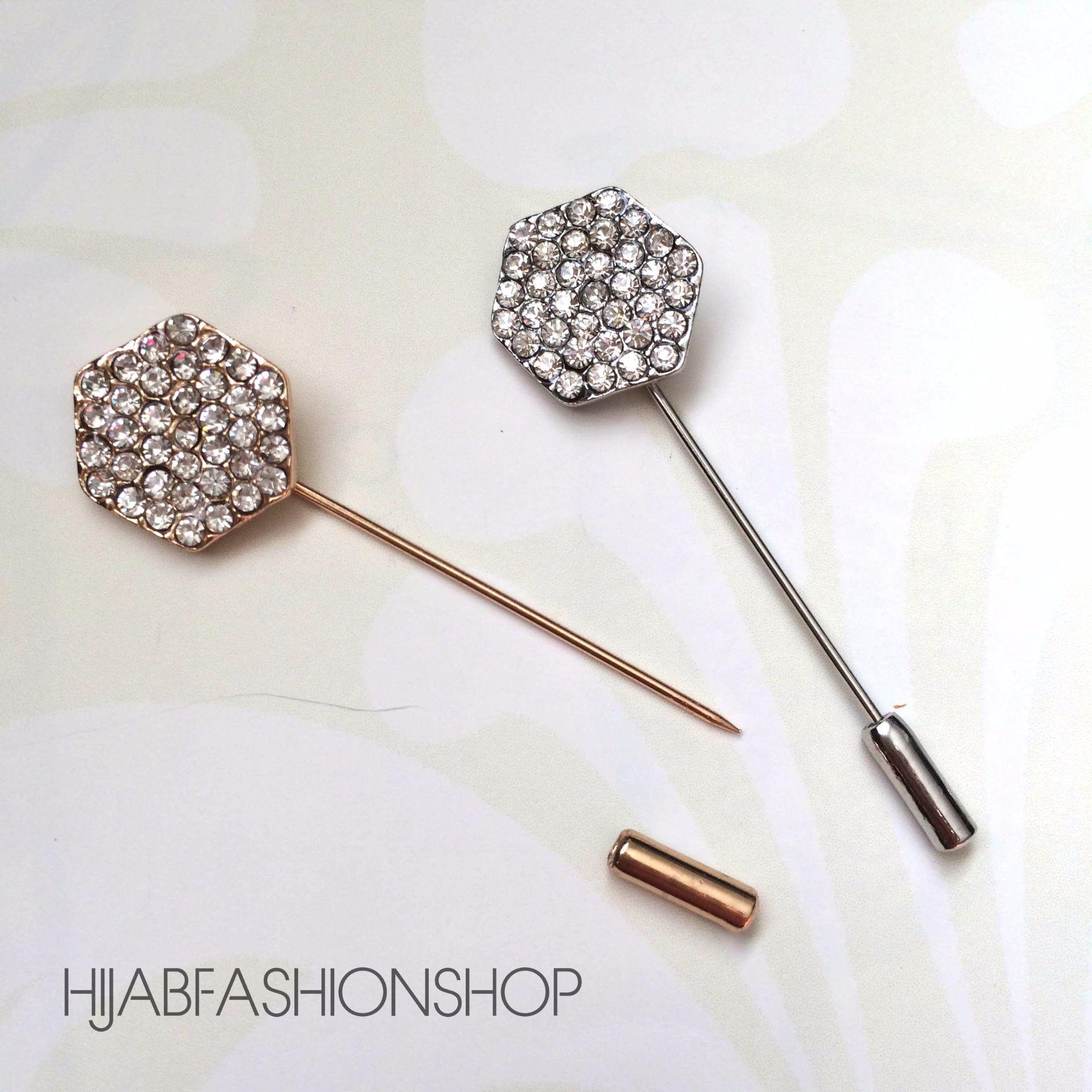 gold and silver hexagon shaped hijab pins with clear crystals