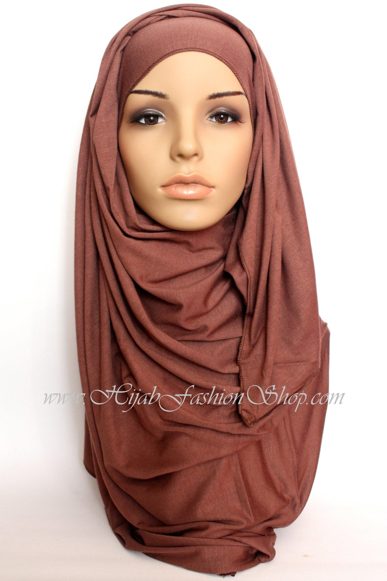 coffee plain jersey hijab