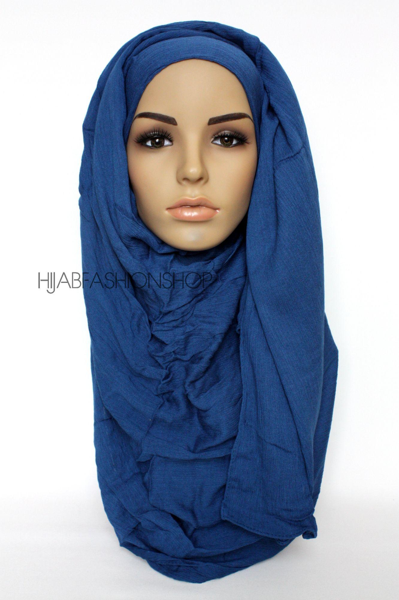 electric blue crinkle rayon hijab