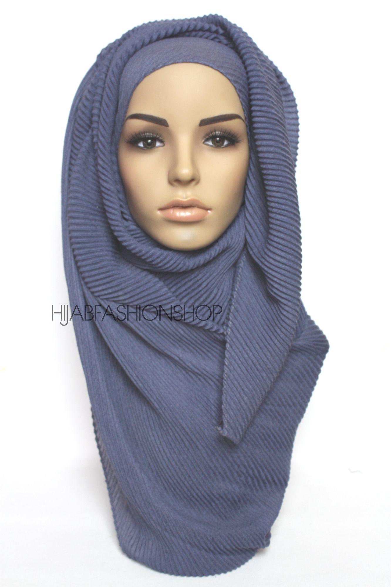 denim pleated hijab