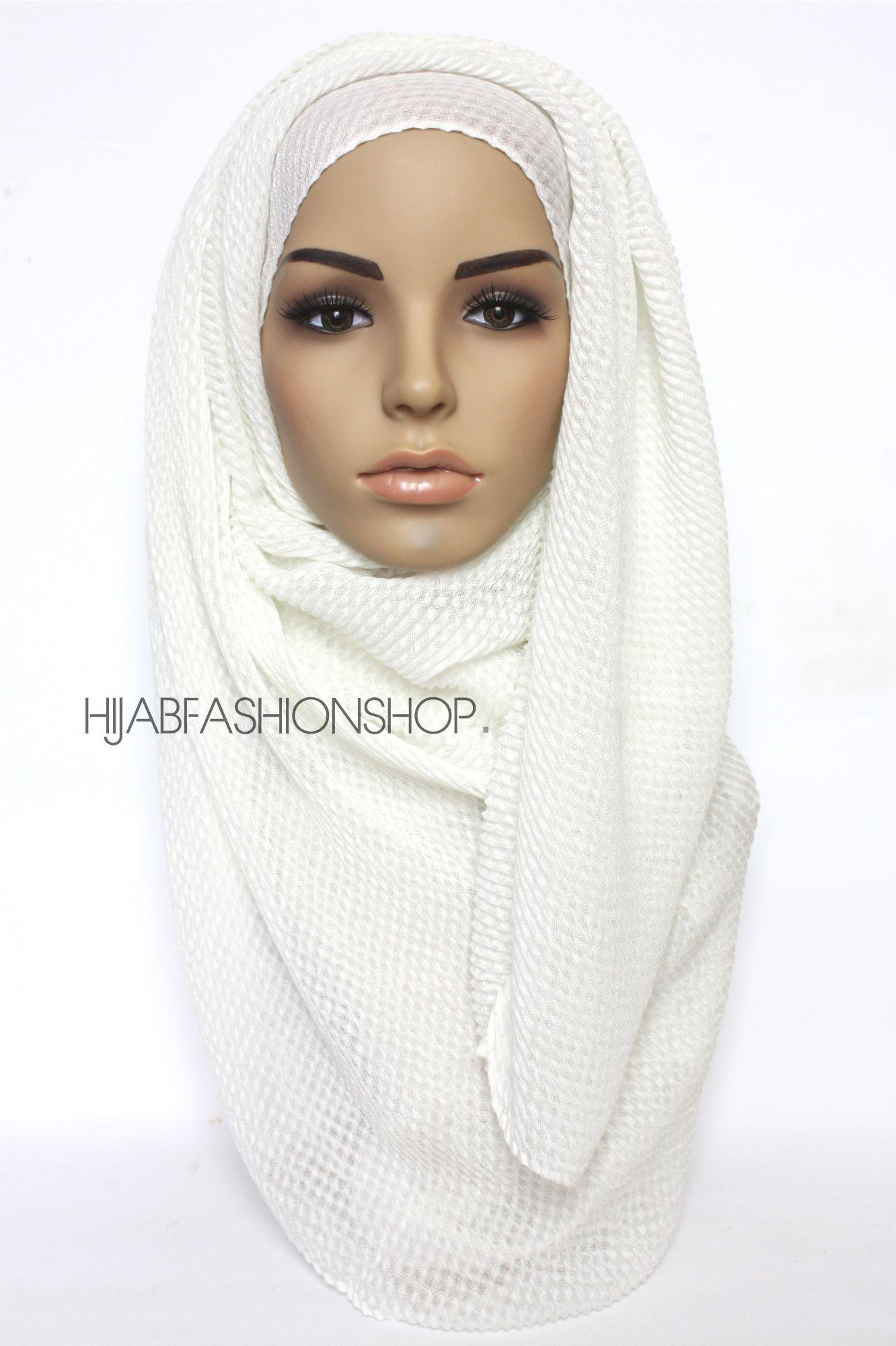 ivory pleated hijab