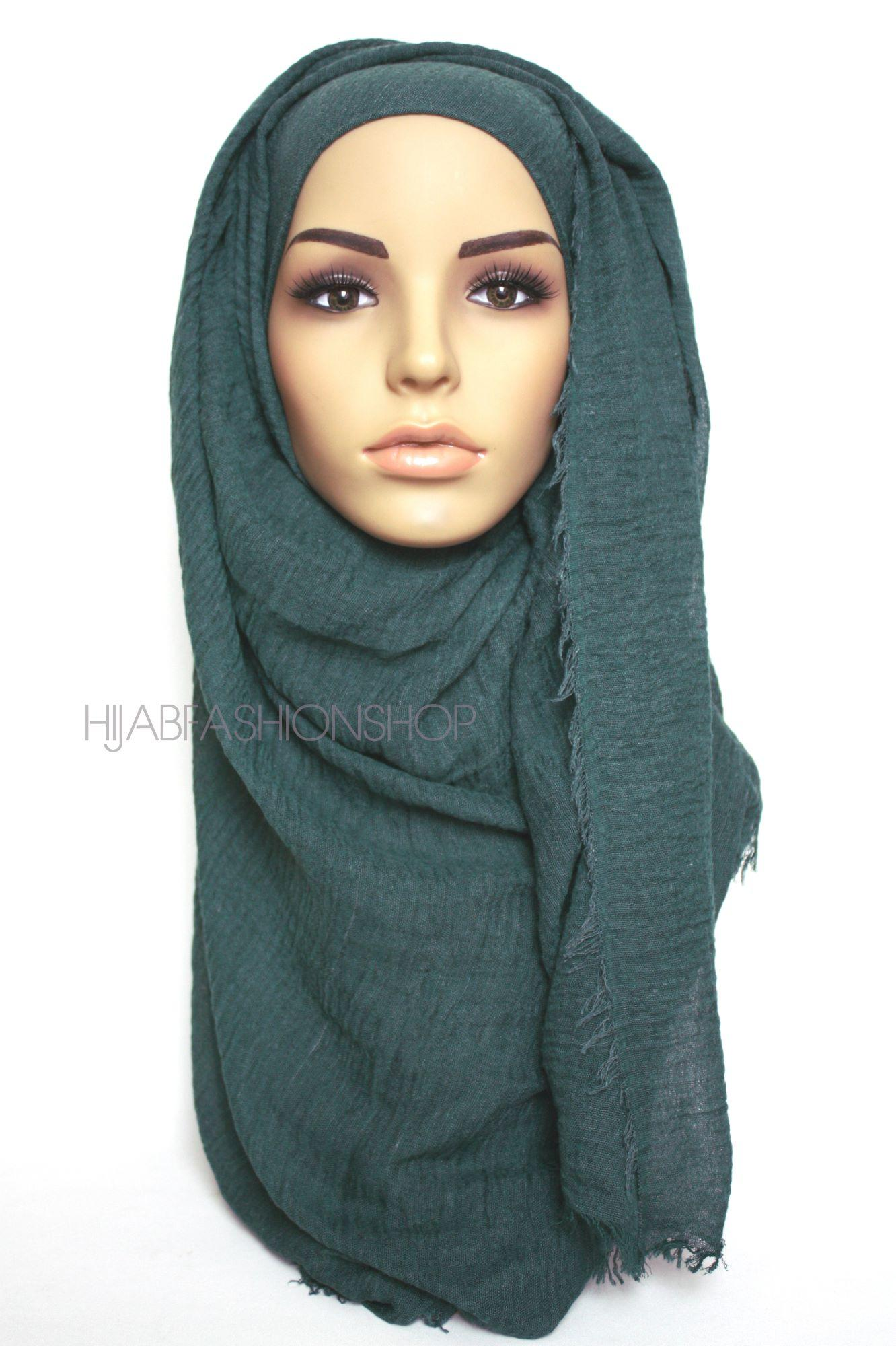 emerald green crimp crinkle hijab