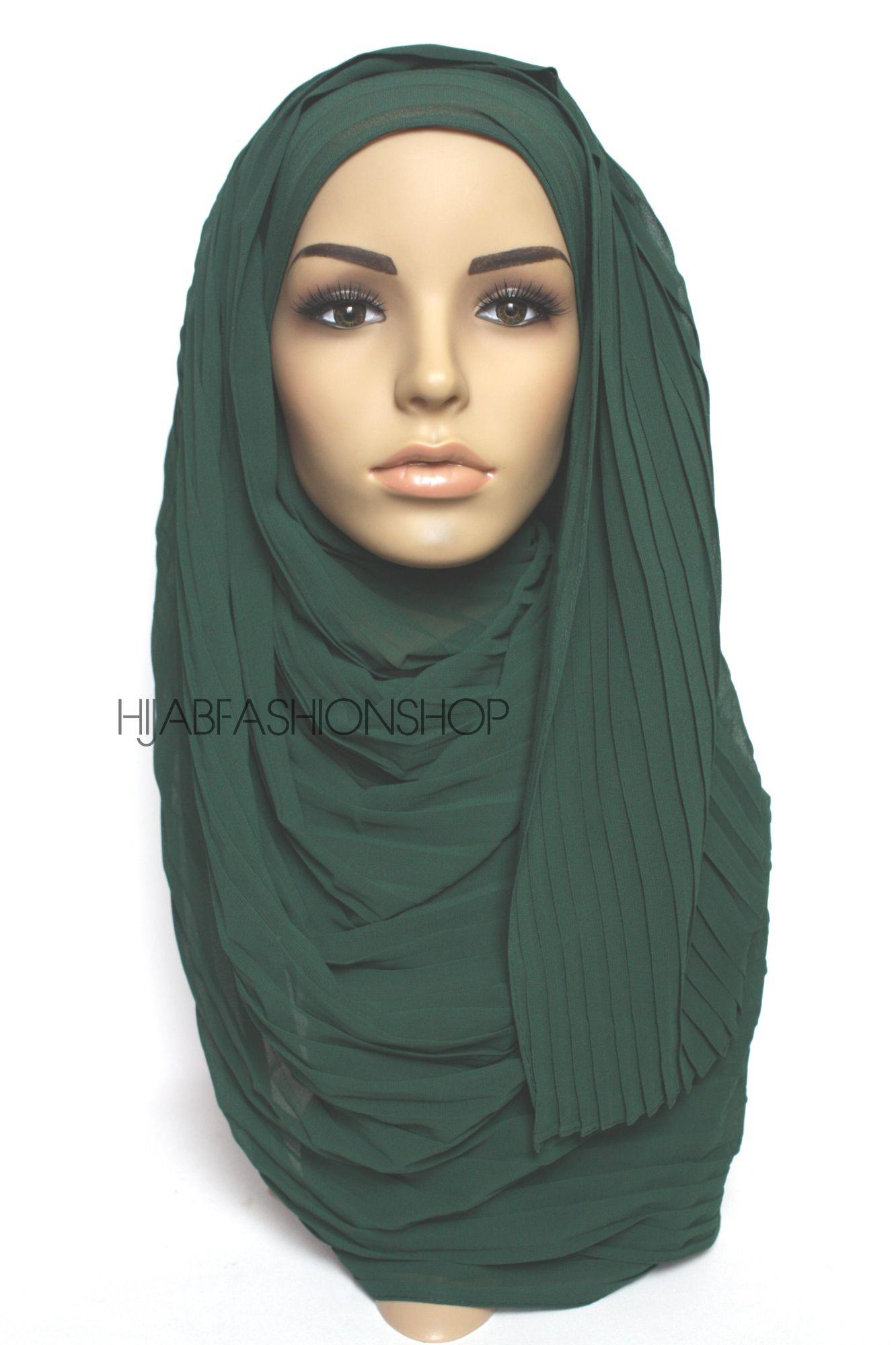 dark green pleated crepe chiffon hijab