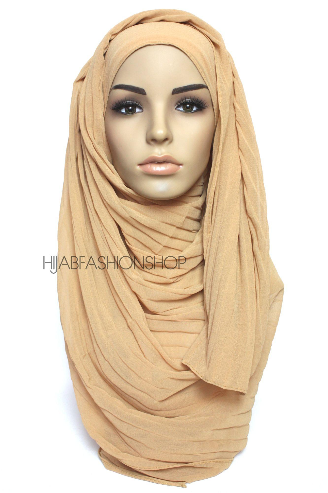camel pleated crimp crinkle hijab