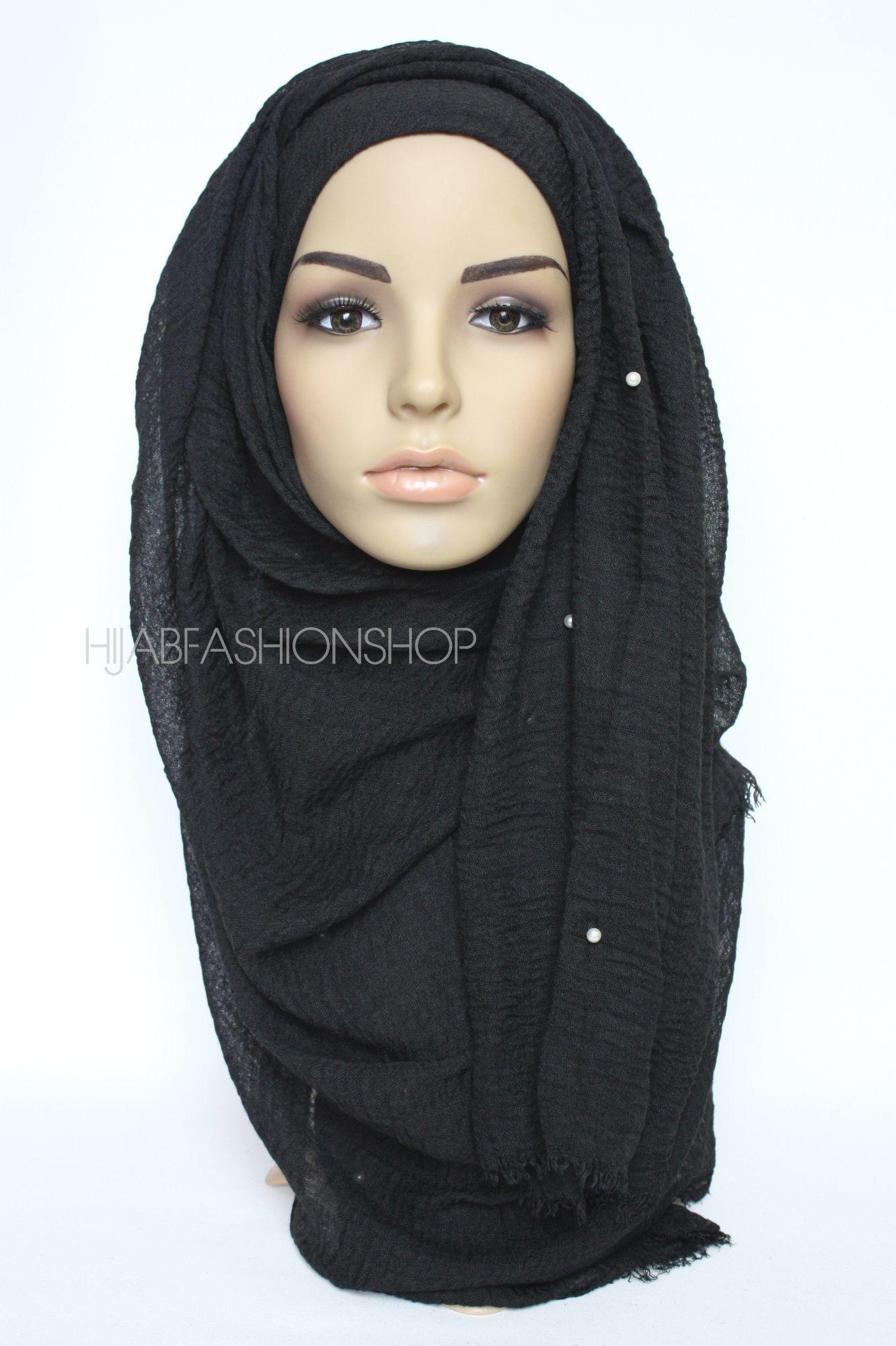 black crimp crinkle hijab with pearls
