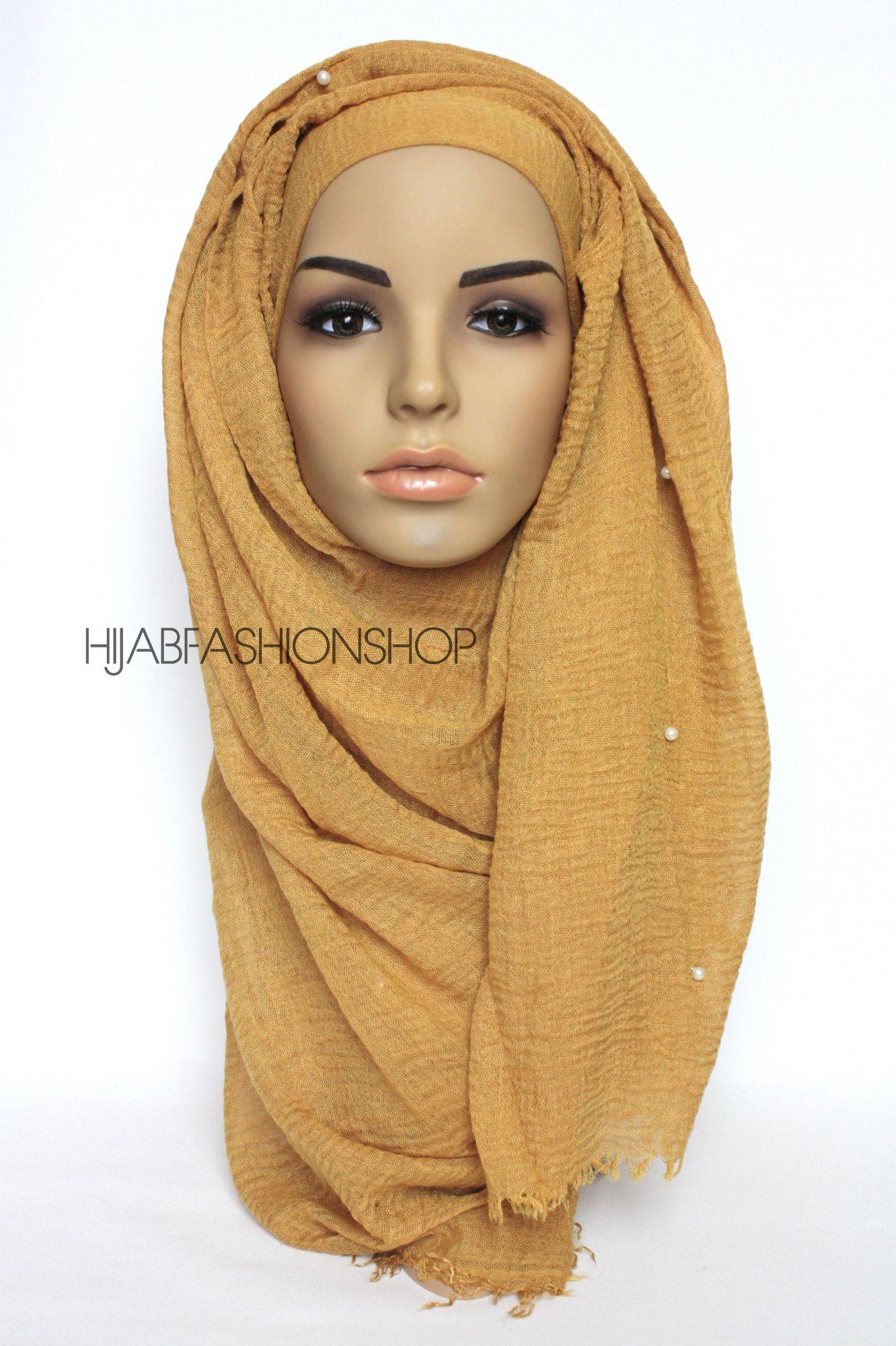 mustard crimp crinkle hijab with pearls