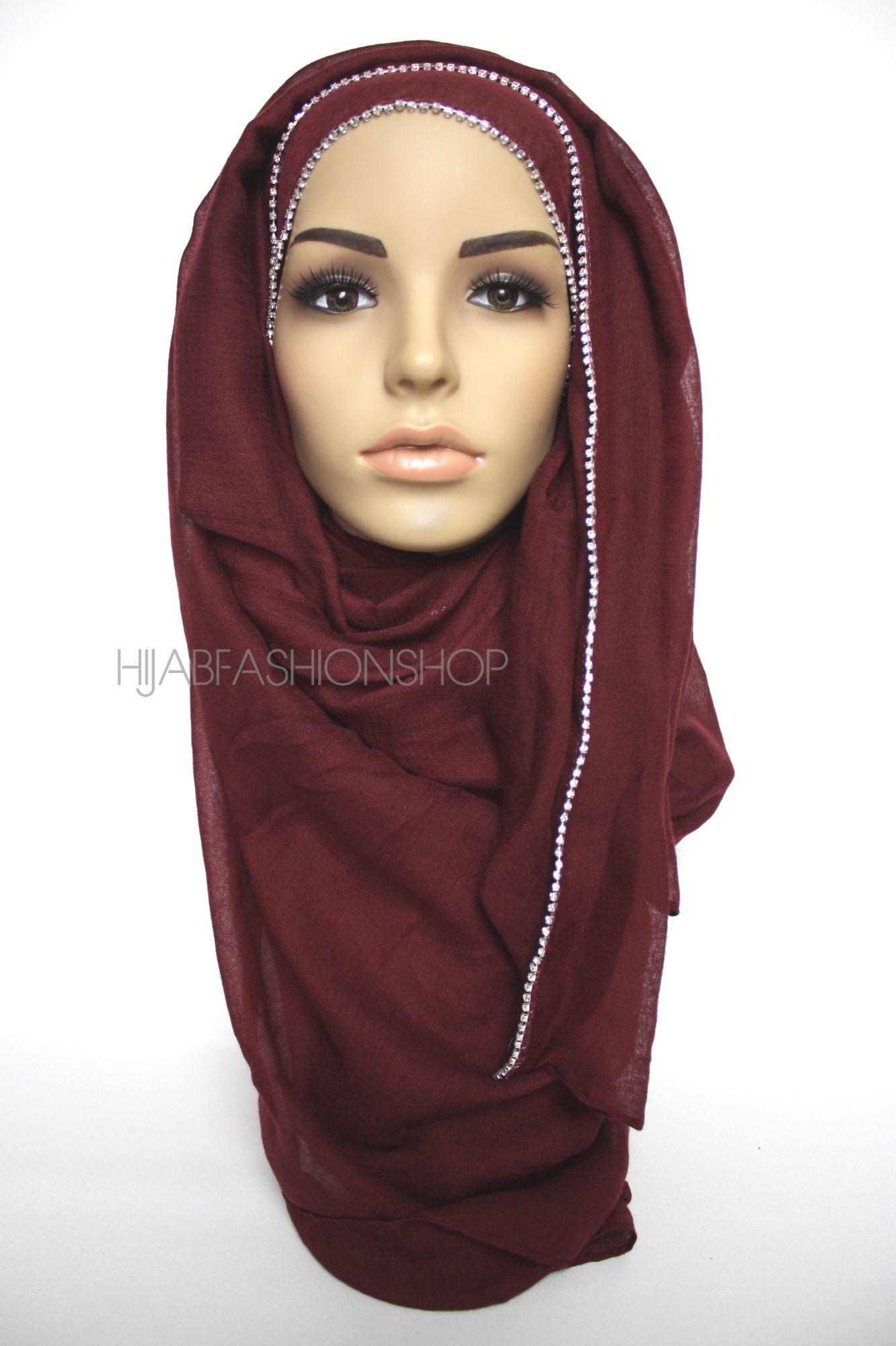 maroon plain hijab with clear crystal line on one longer edge