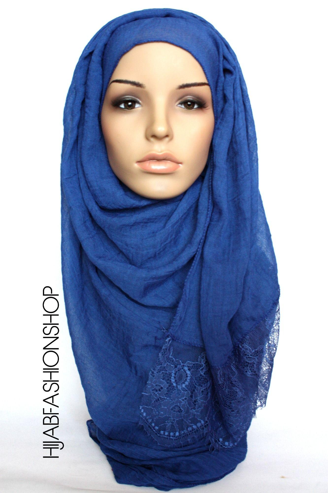 royal blue plain hijab with lace edges