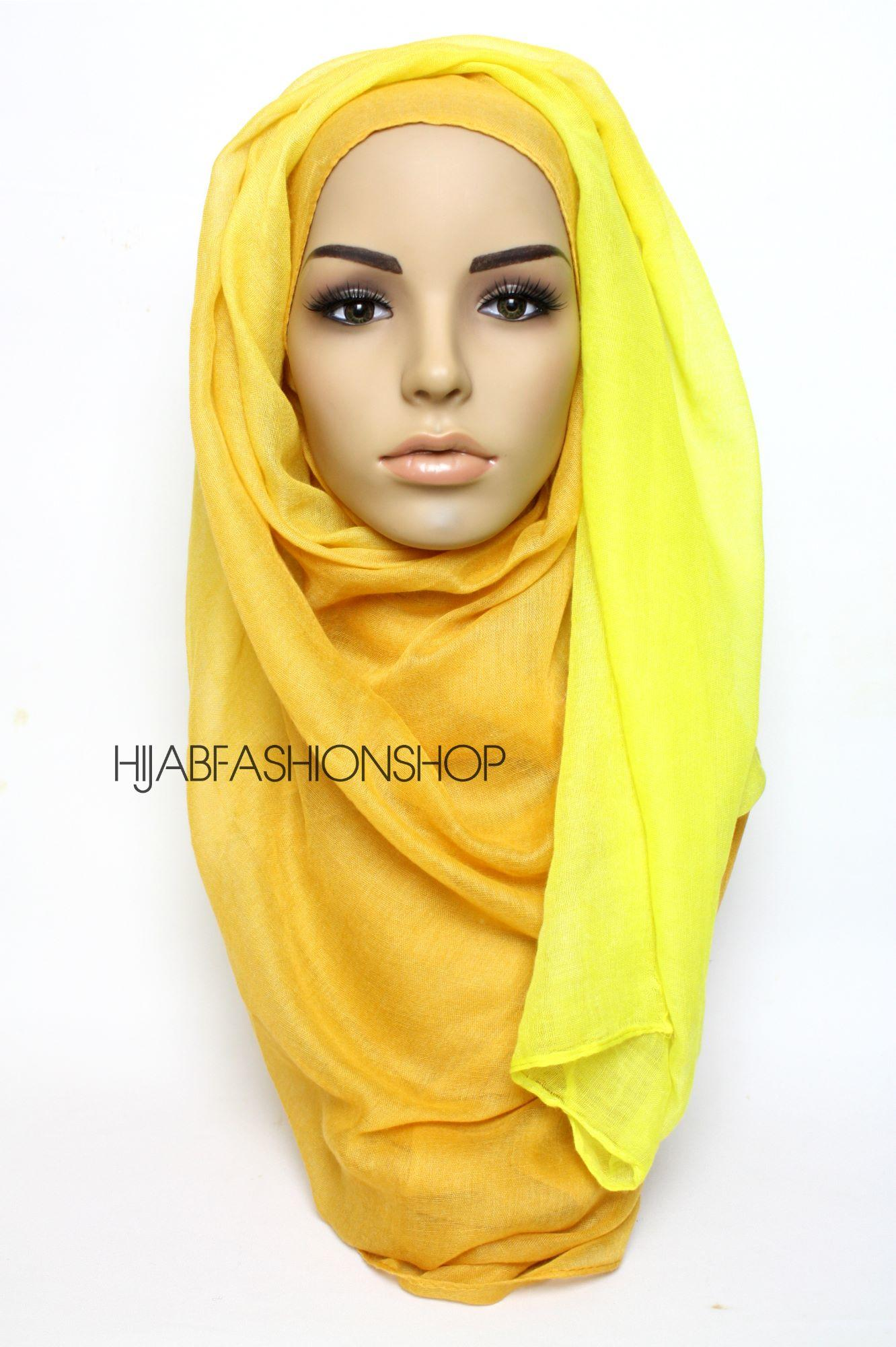 plain orange hijab with yellow gradient edge