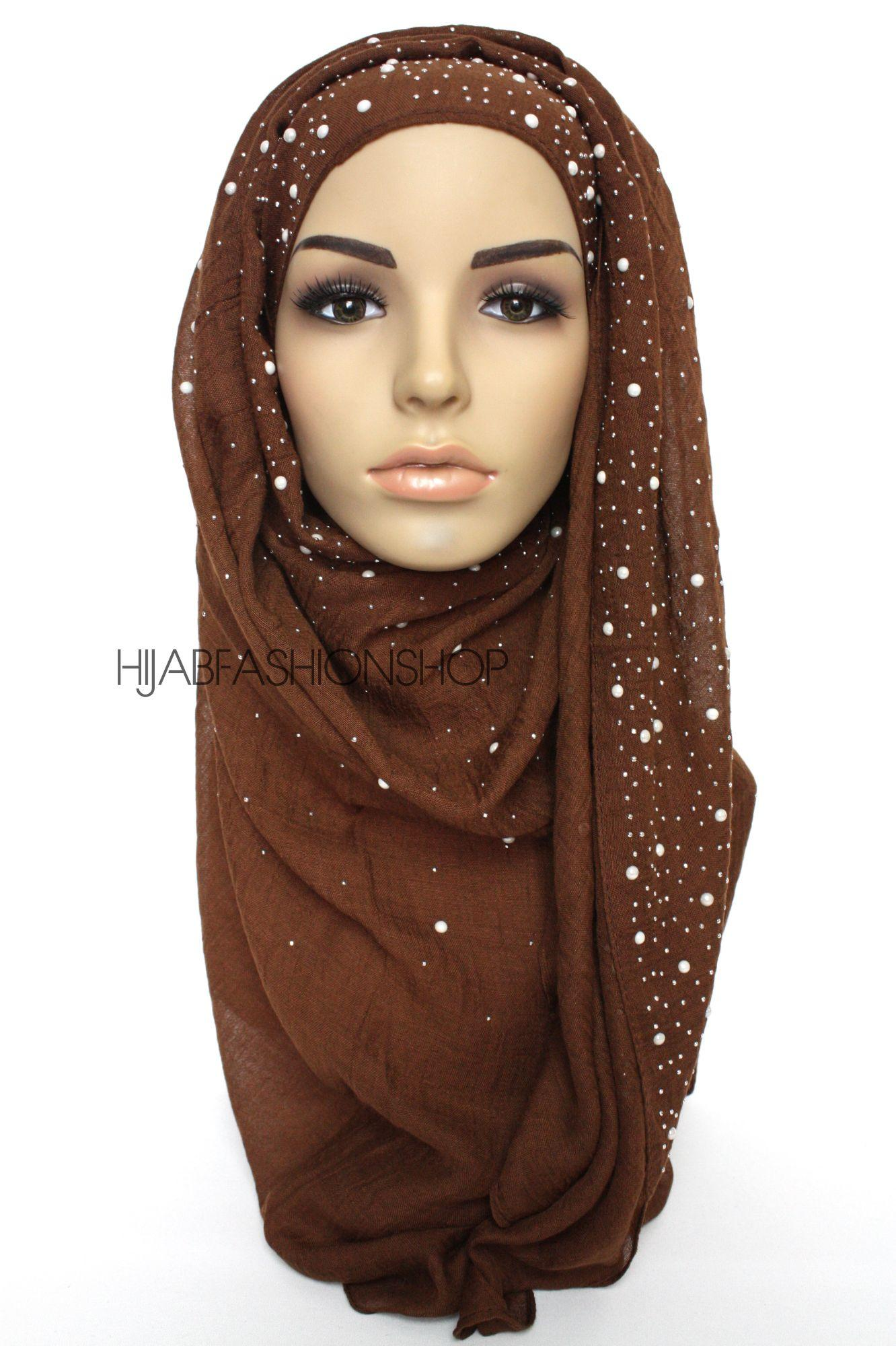 brown hijab with silver studs and pearls