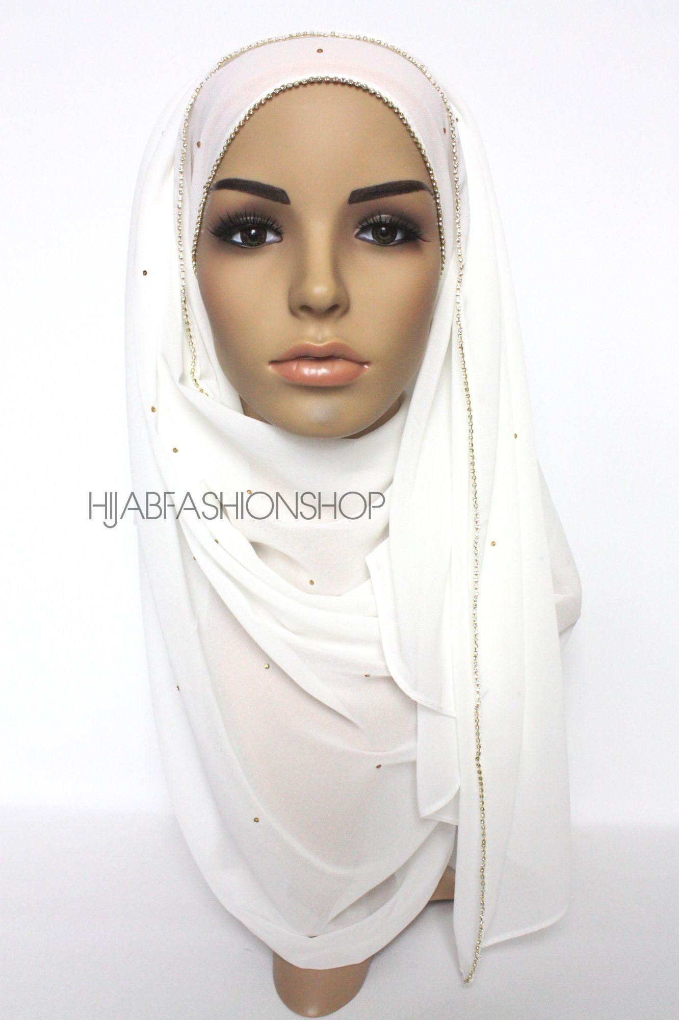 ivory chiffon hijab with clear crystal line on longer edge