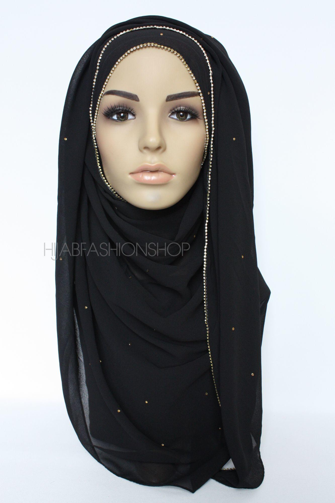 black chiffon hijab with clear crystal line on longer edge