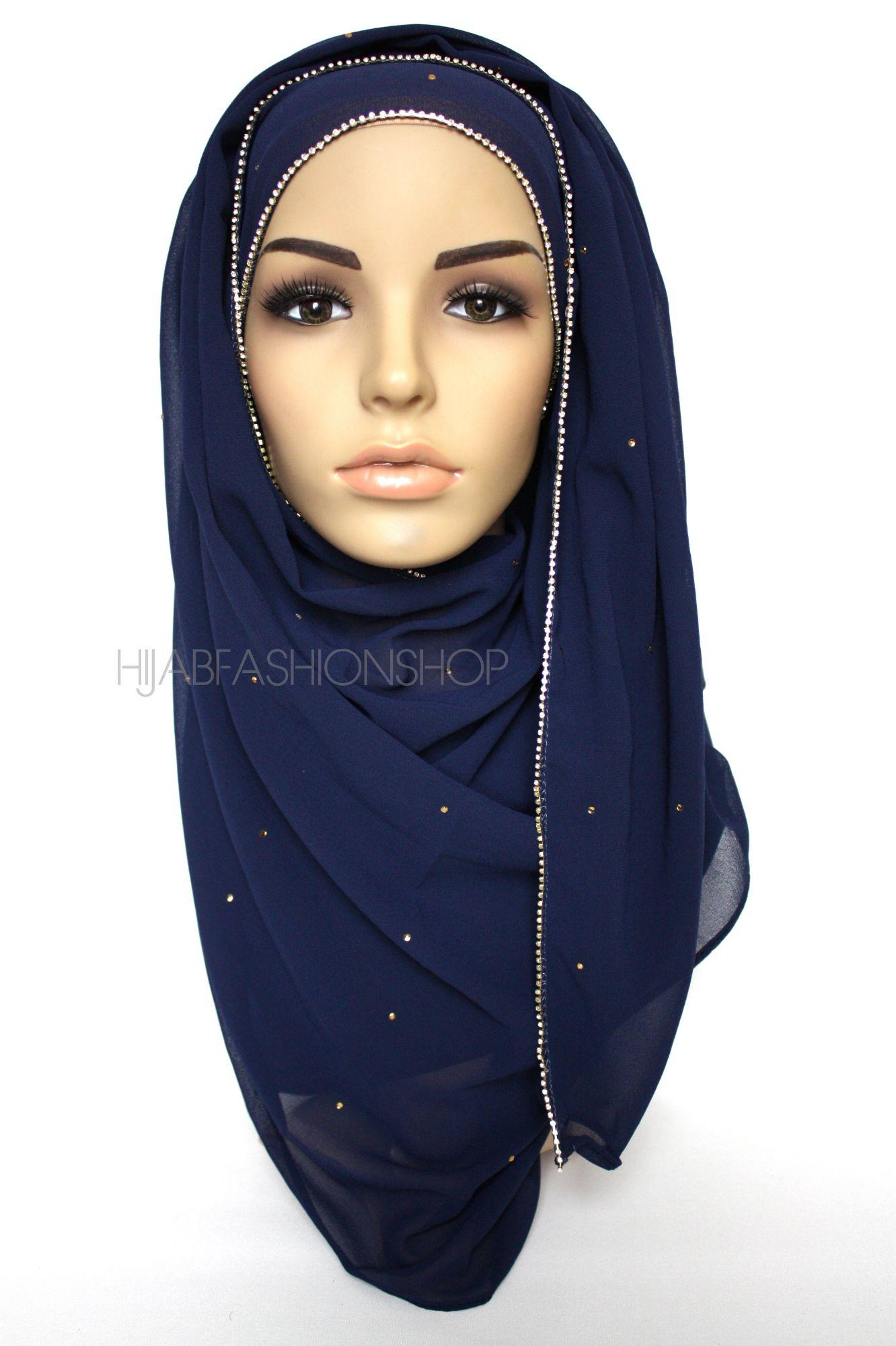 navy chiffon hijab with clear crystal line on longer edge