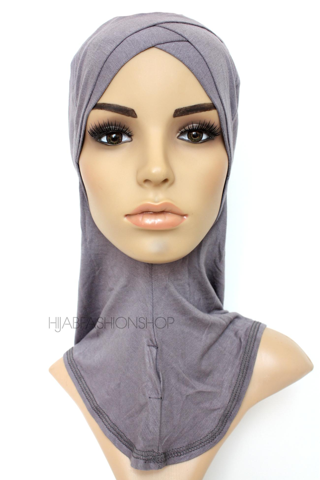 slate full hijab underscarf with double criss cross peak