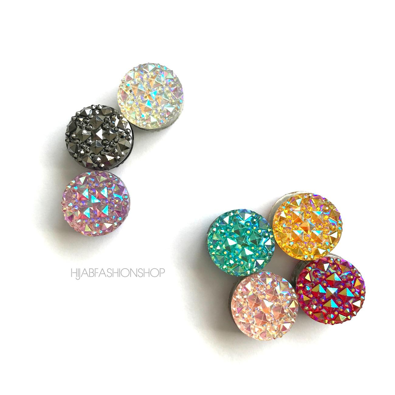 7 round magnetic hijab pins with icy crystals, mixed colour