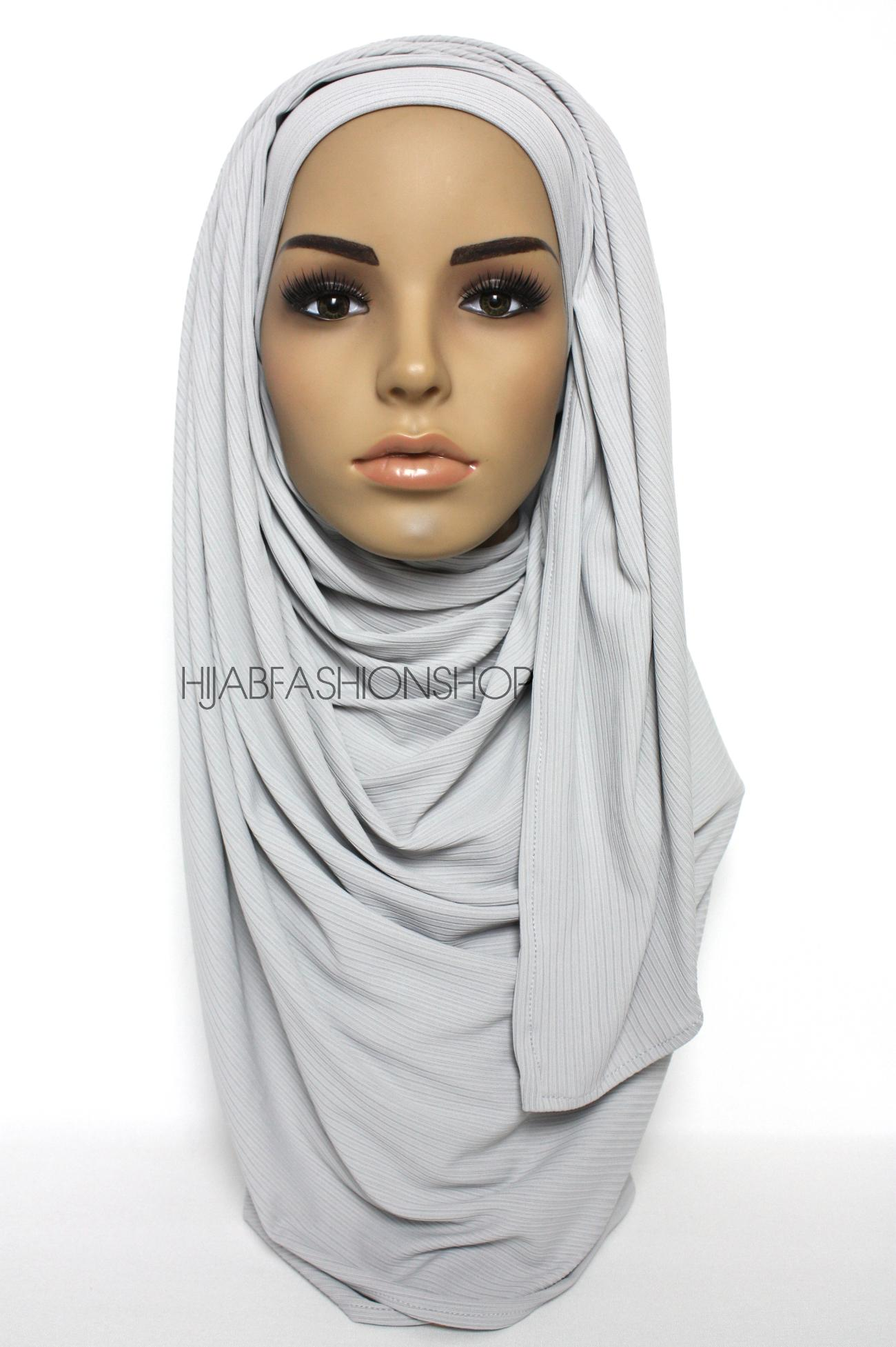 light grey ribbed jersey hijab