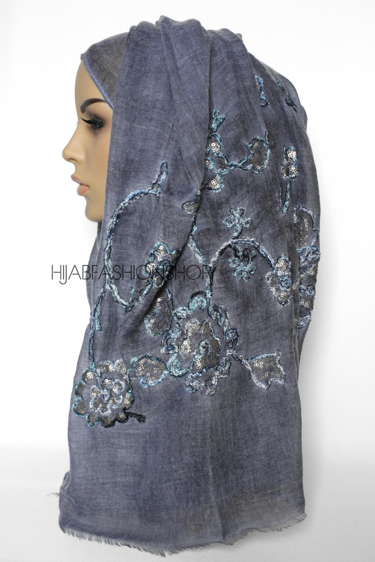 denim linen look hijab with floral velvet embroidery and sequins side view