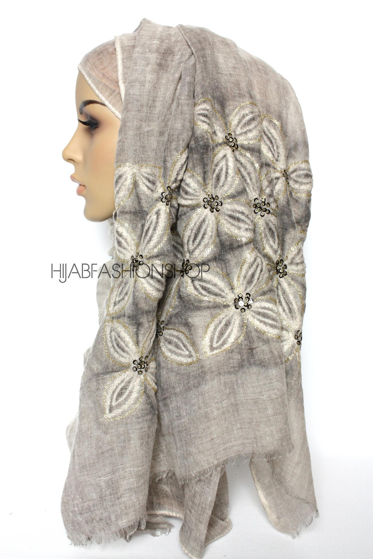 taupe linen look hijab with lilies embroidery and sequins side view