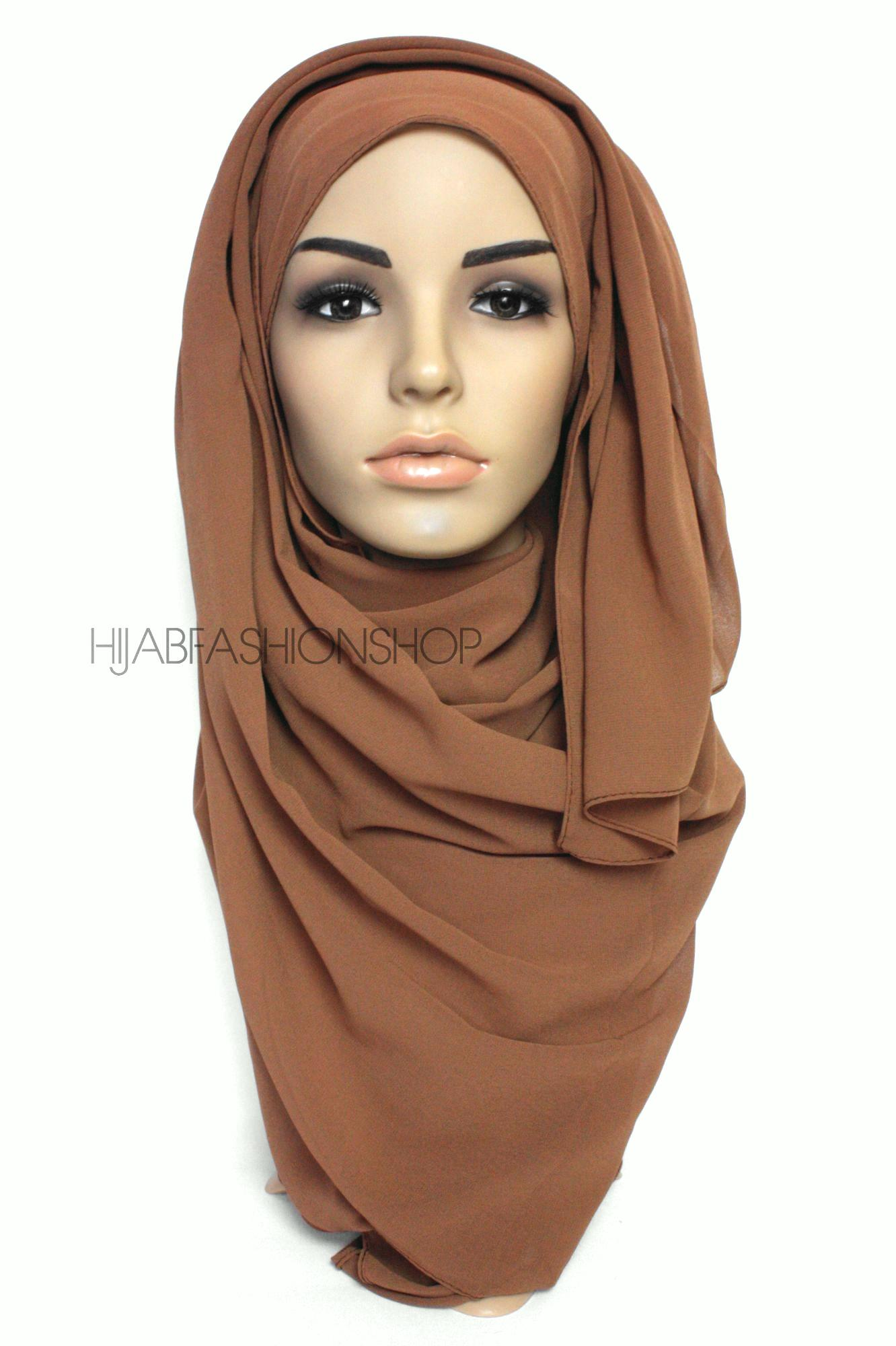 rusty brown crepe chiffon hijab