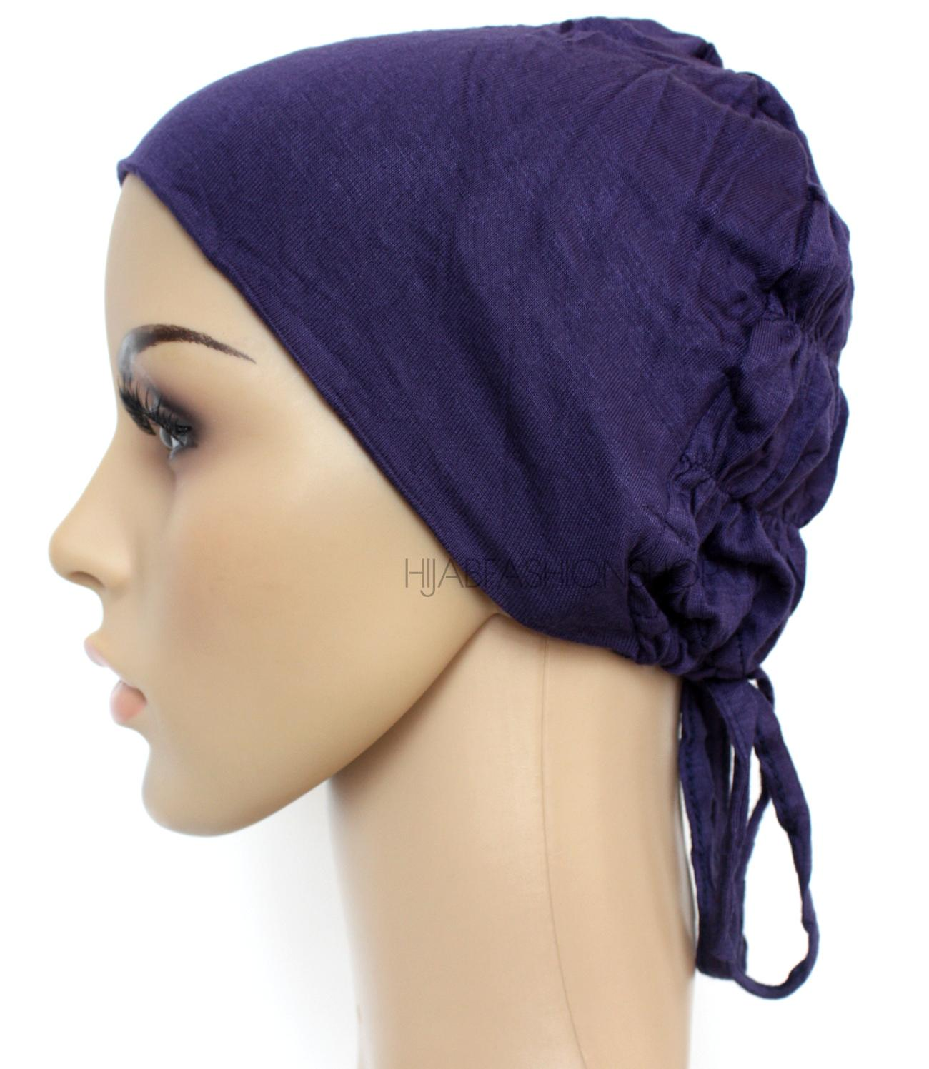 navy ruched back string bonnet