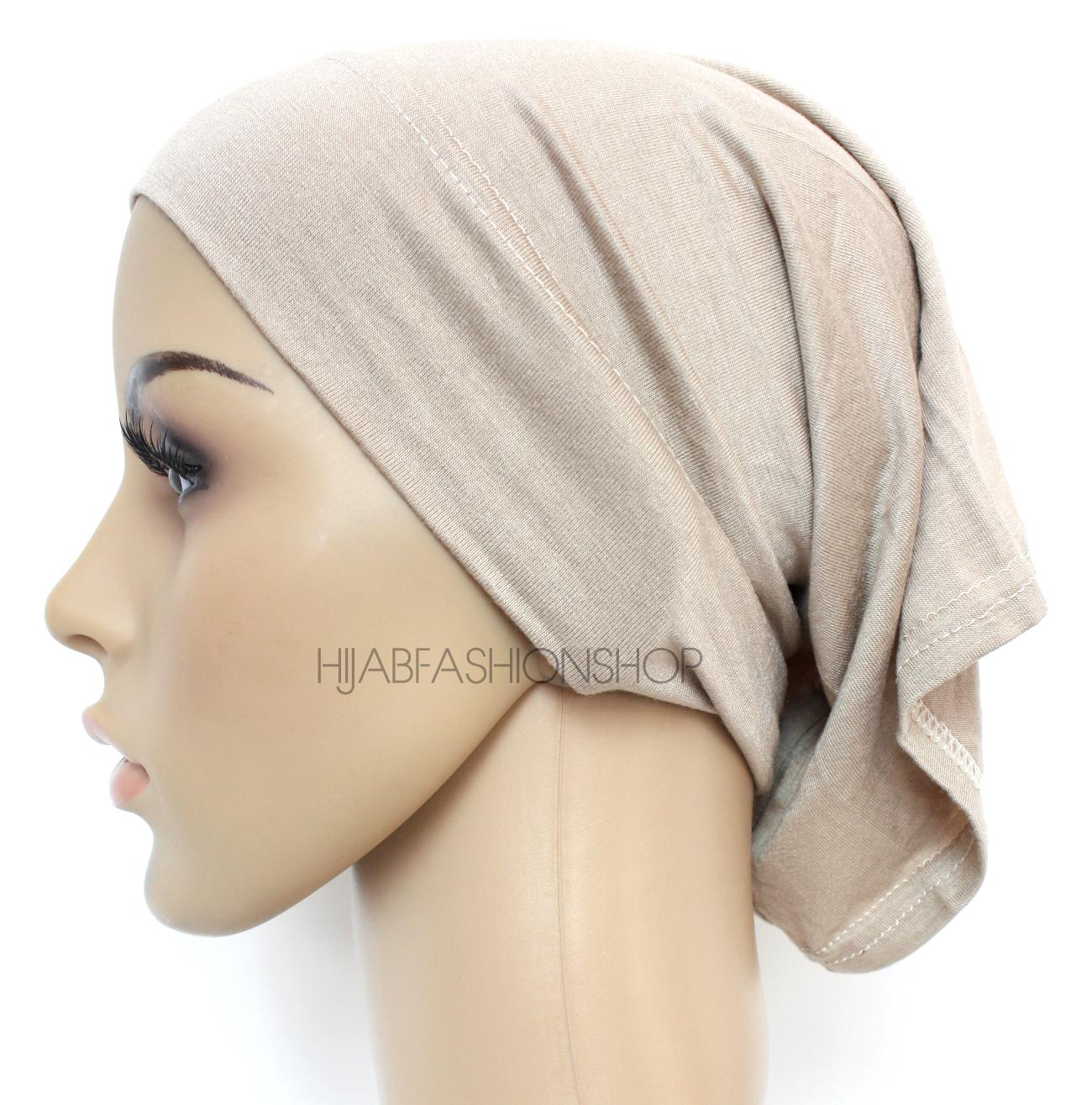light taupe tube hijab cap